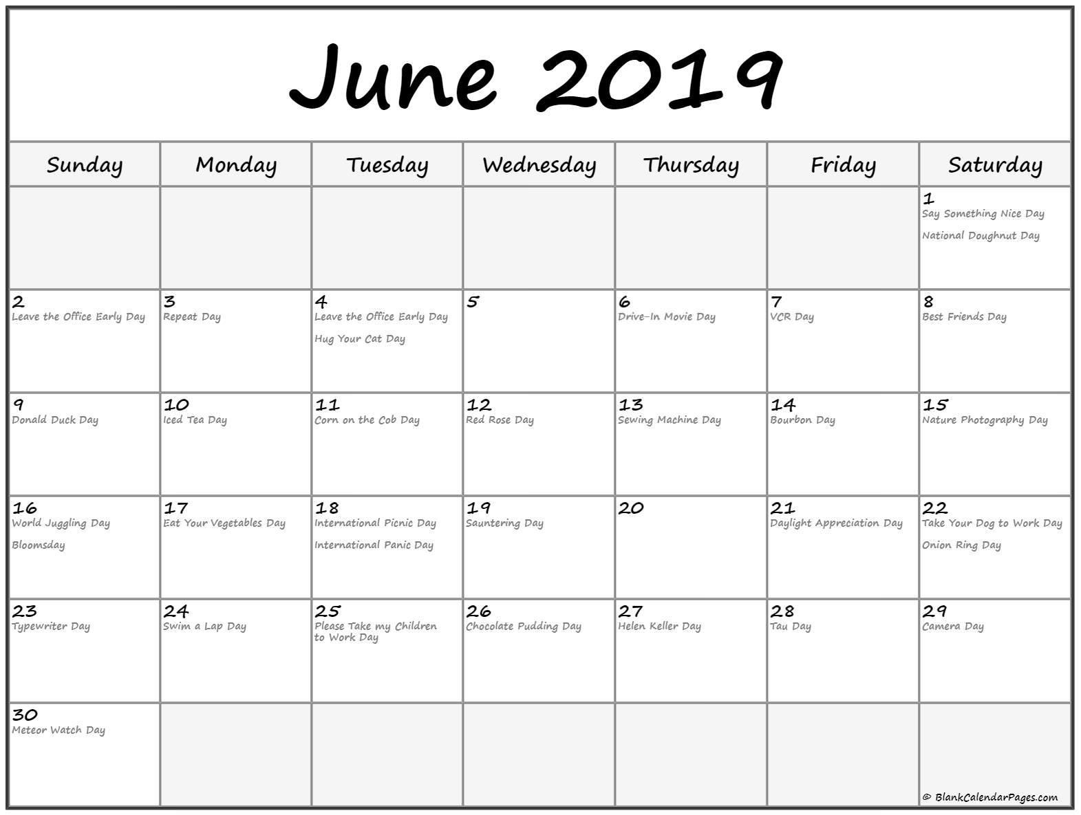 Calendar Dates For June 2019 | Template Calendar Printable inside National Day Calendar Blank
