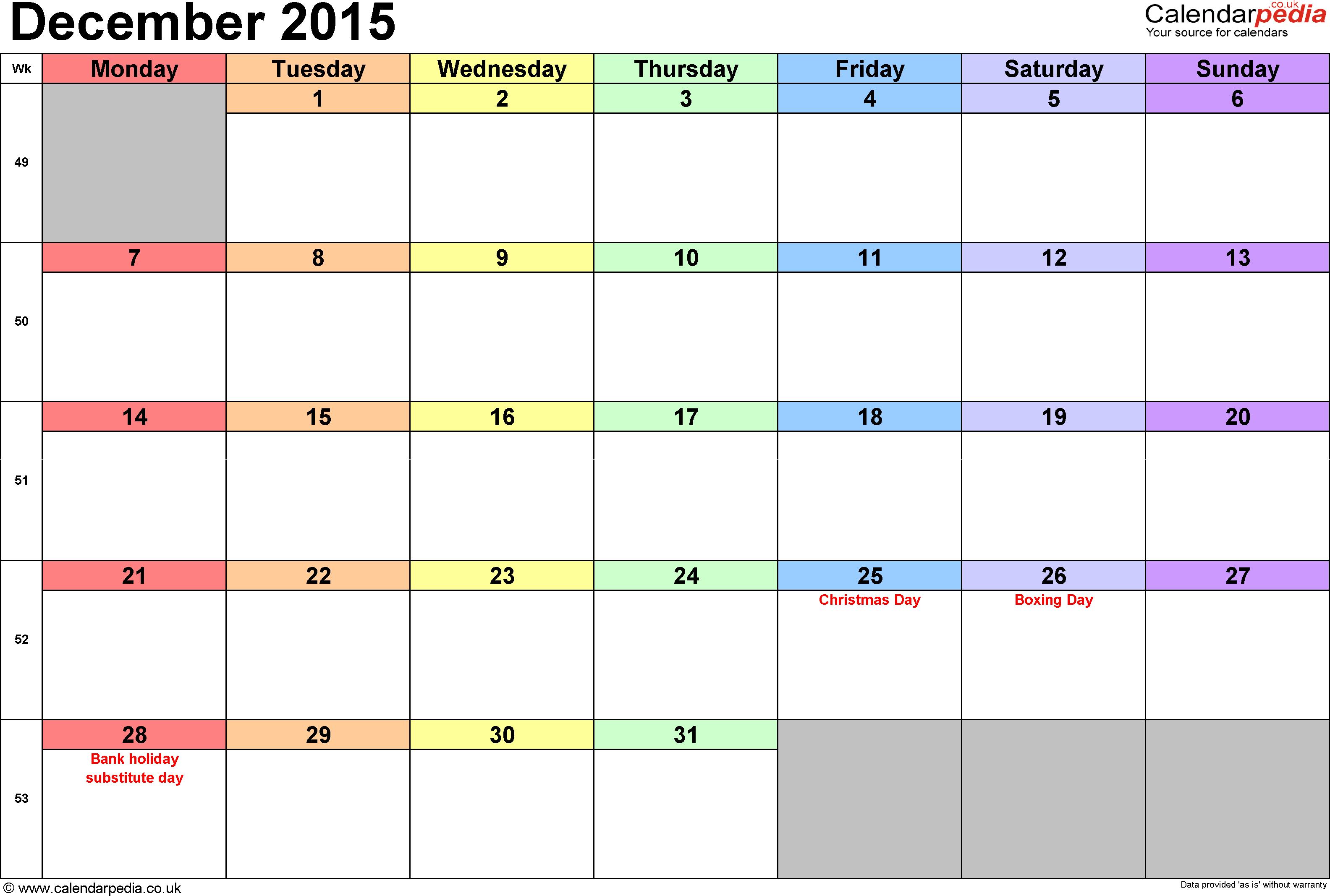 Calendar December 2015 Uk, Bank Holidays, Excel/pdf/word Templates for Calendar Planner Template Excel December