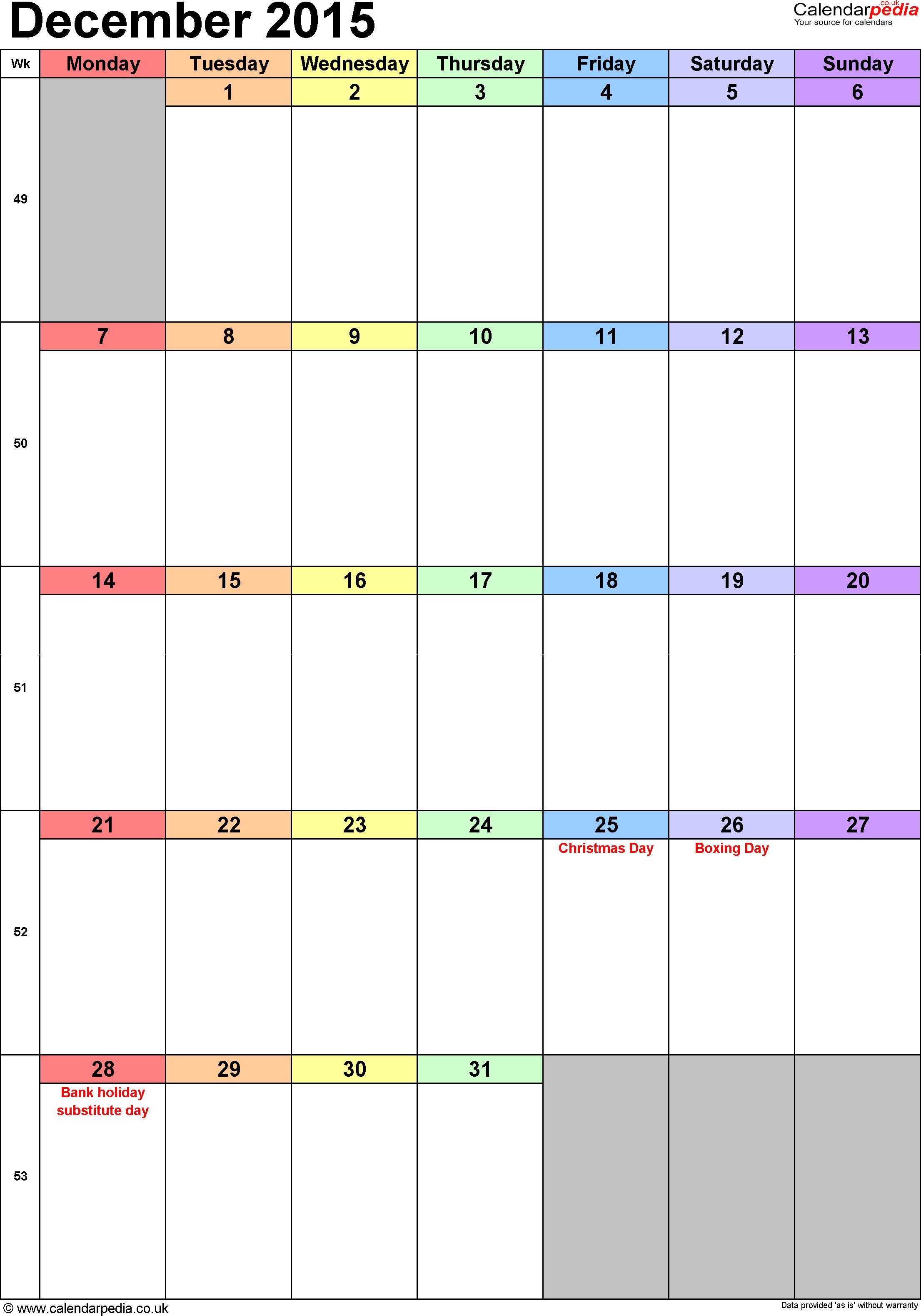 Calendar December 2015 Uk, Bank Holidays, Excel/pdf/word Templates regarding Calendar Planner Template Excel December