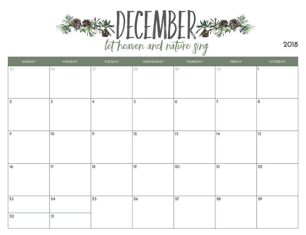 Calendar December 2018 | Academic Printable Calendar December 2018 pertaining to Blank Calendar Printable December