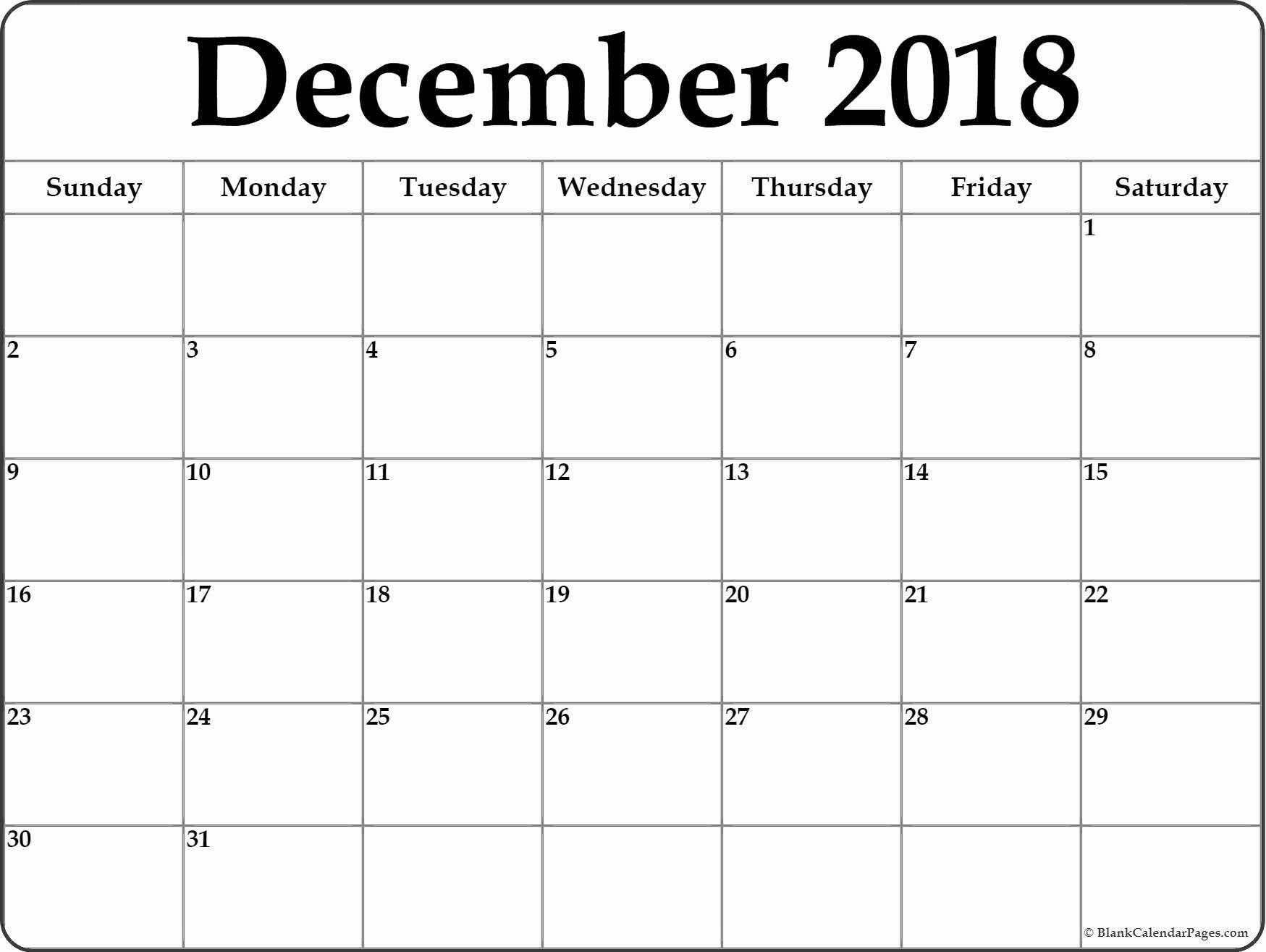Calendar December 2018 And January 2019 | December 2018 Calendar in Blank Printable December Calandar