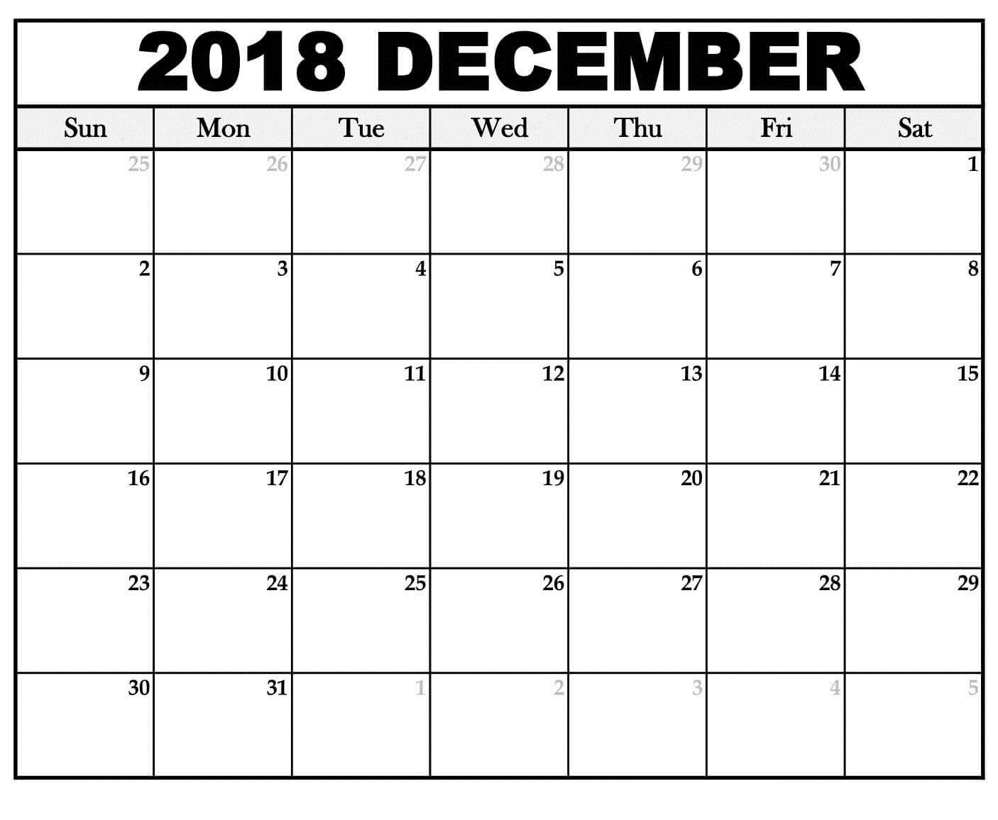 Calendar December 2018 Editable Template | Printable Calendar for December Calendar Printable Template