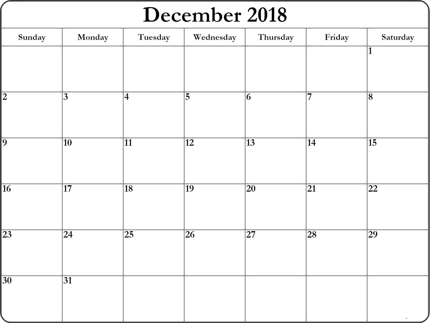 Calendar December 2018 In Word - Printable Calendar 2019| Blank in Blank Printable December Calandar