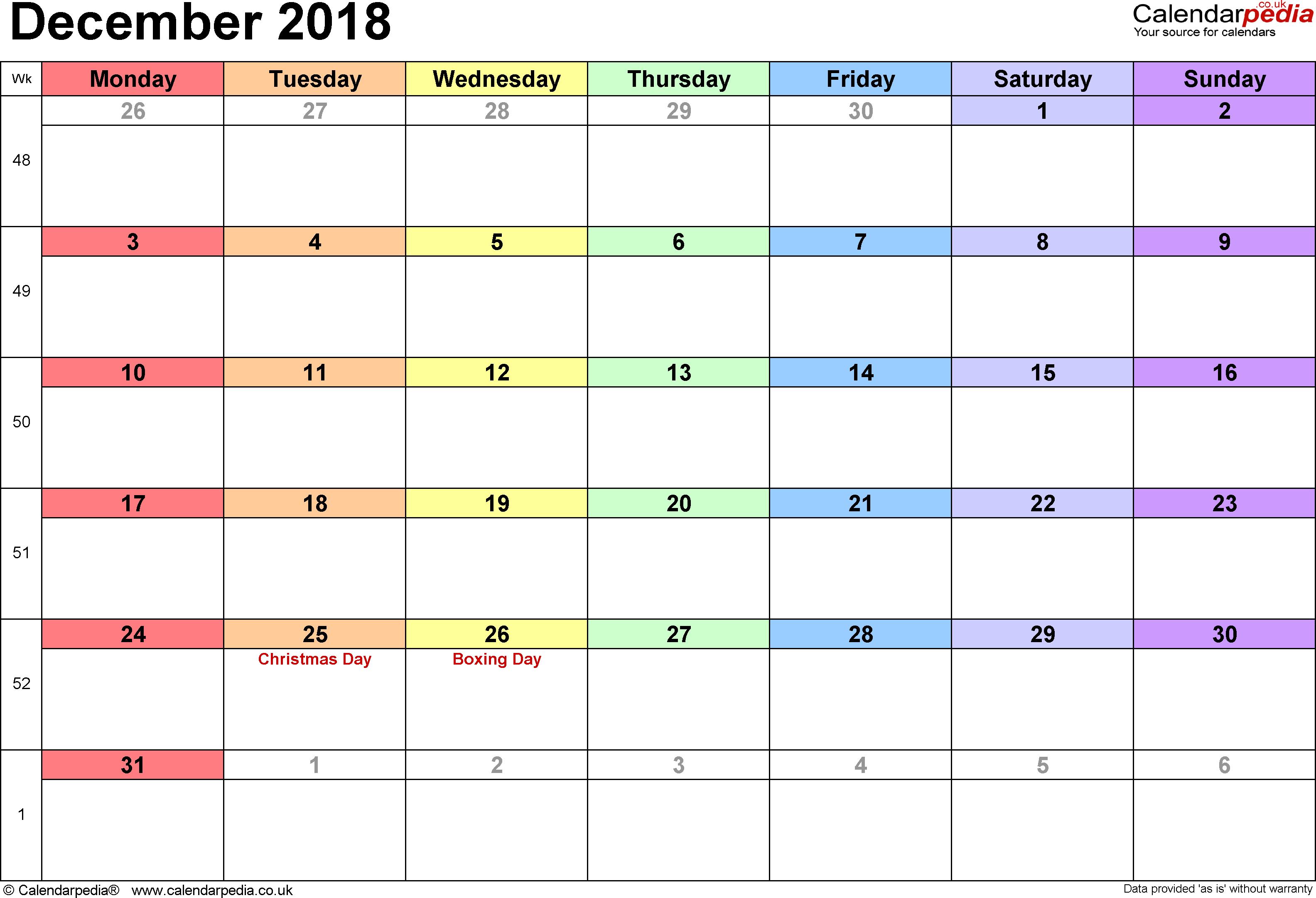 Calendar December 2018 Uk, Bank Holidays, Excel/pdf/word Templates inside December Monthly Calendar Template