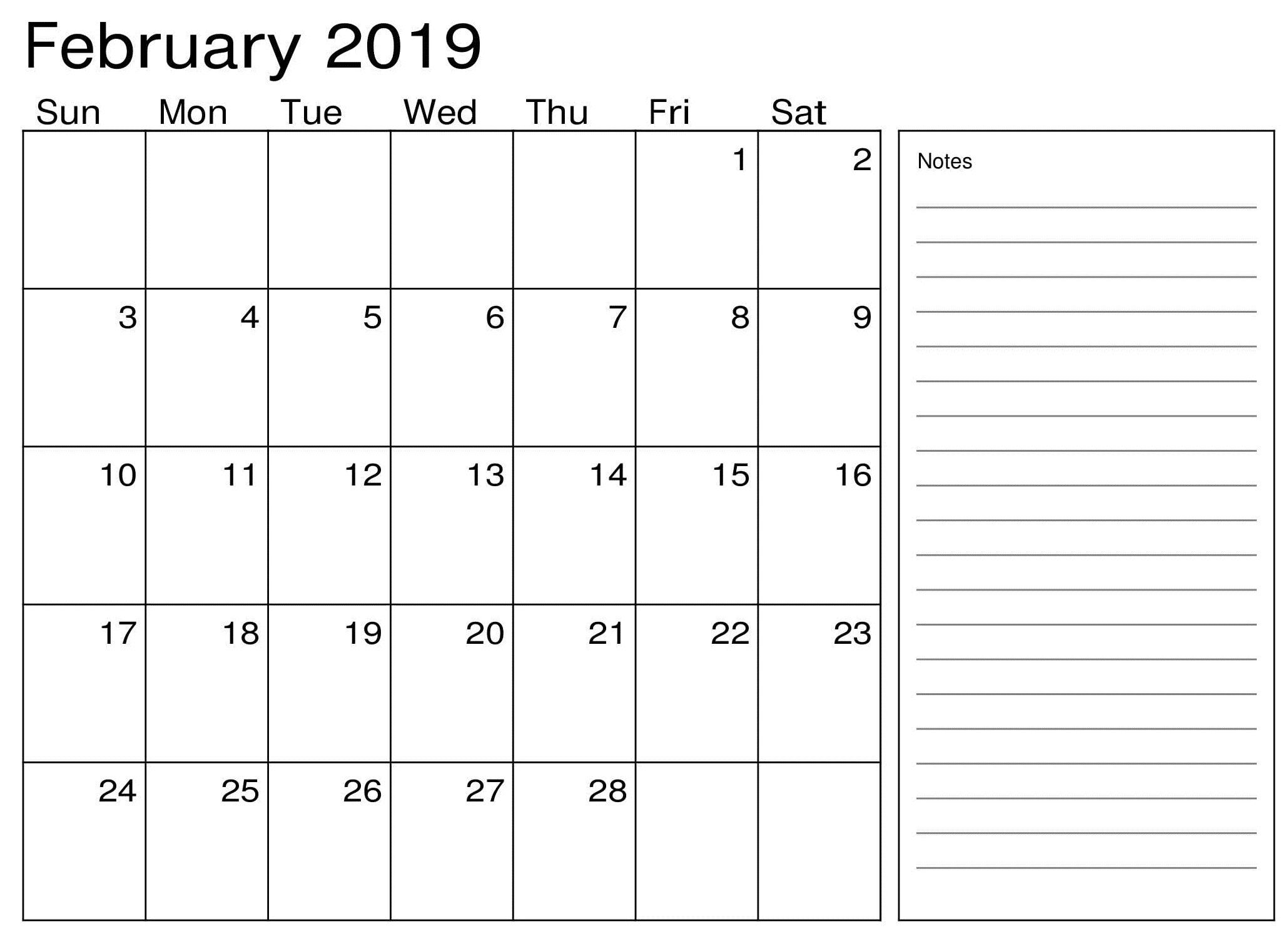 Calendar February 2019 Printable With Notes - Printable Calendar with regard to Blank Calendar Template With Notes