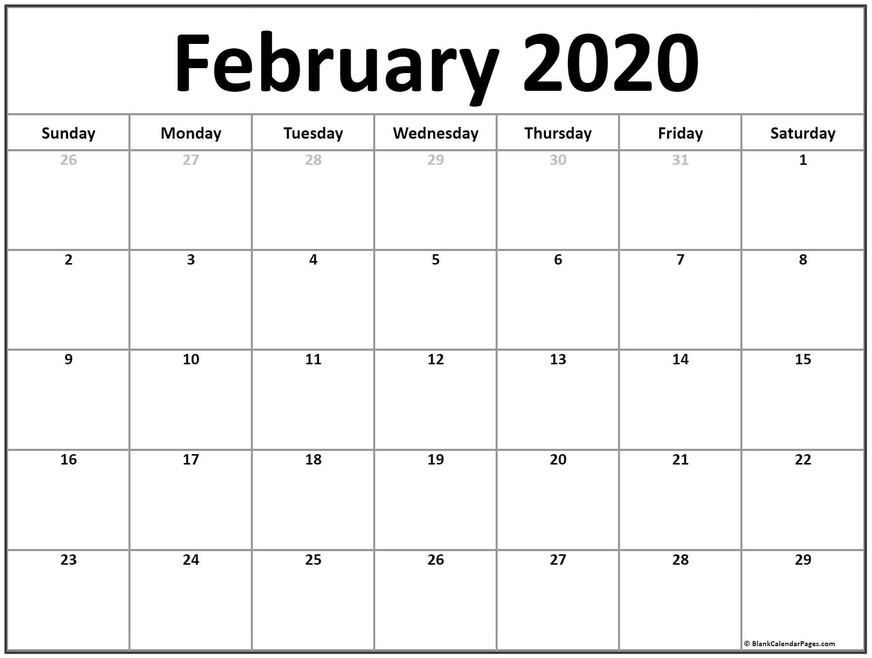 Calendar February 2020 Printable | Free Printable Calendar Monthly with Free 8/2019 -5/ 2020 Printable Calendar