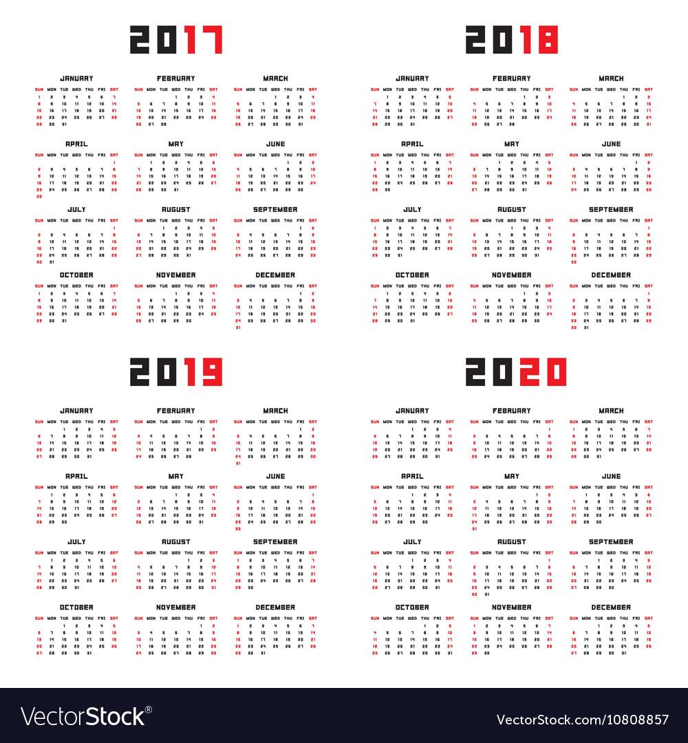 Calendar For 2017 2018 2019 2020 for Google Calendar Printable 2019 2020