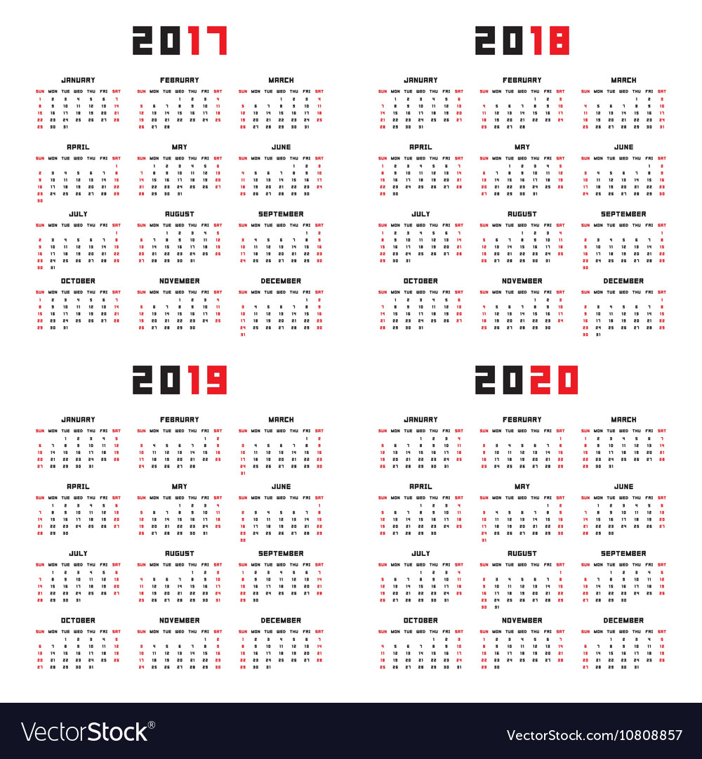 Calendar For 2017 2018 2019 2020 with 2019/2020 Calander To Write On