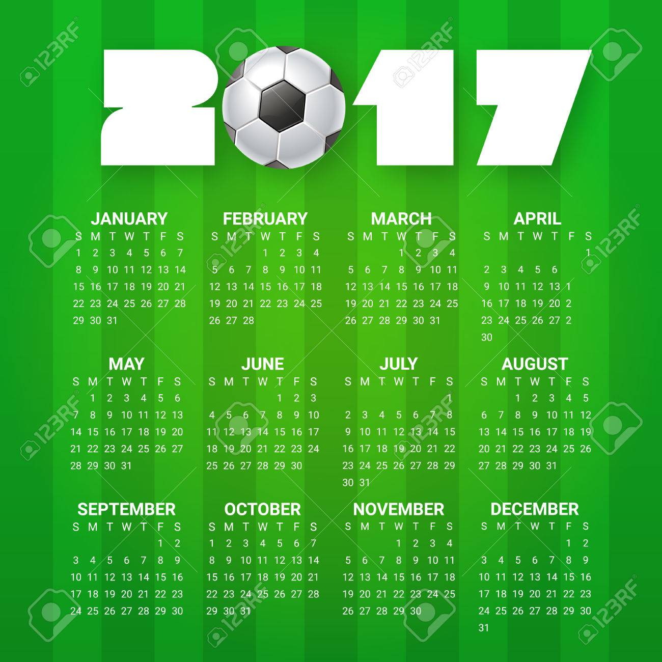 Calendar For 2017 Year. Sport, Football, Games Theme. Soccer.. with regard to Template For Weekly Football Games Week 1