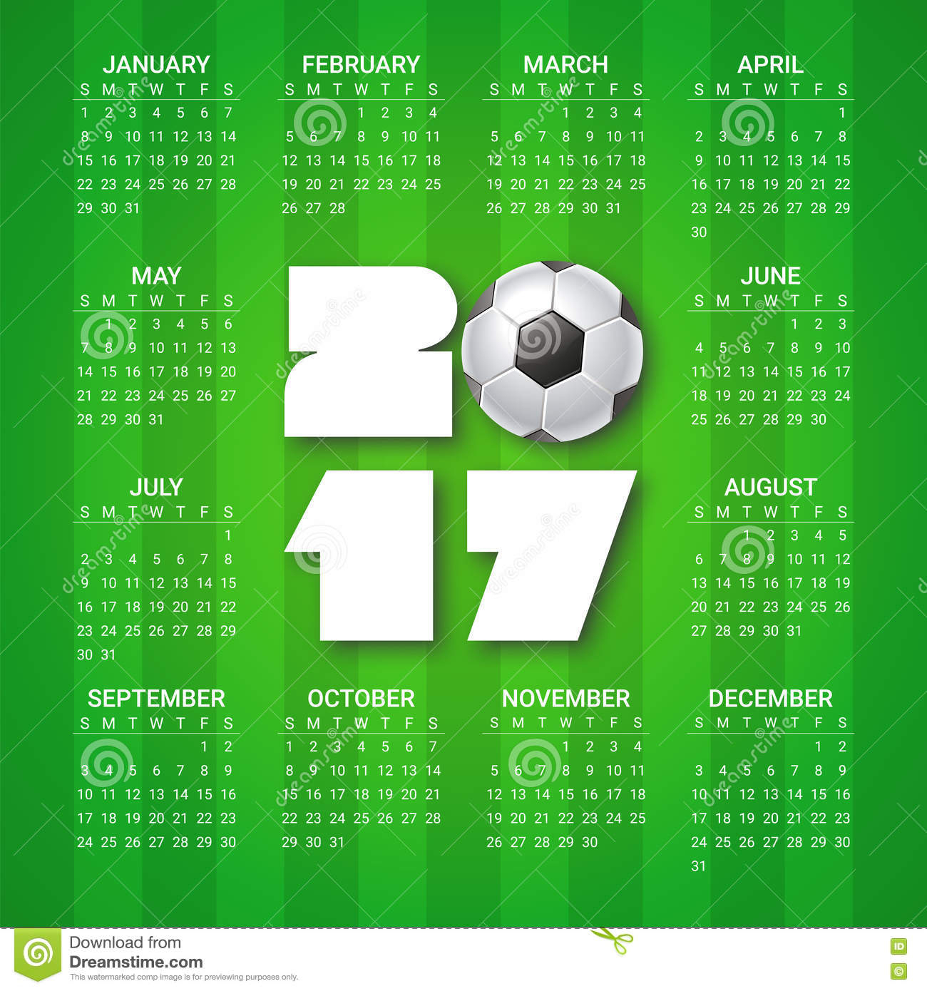 Calendar For 2017 Year With Soccer Ball On Bright Green Background pertaining to Template For Weekly Football Games Week 1