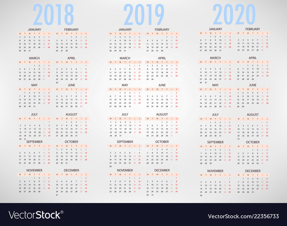 Calendar For 2018 2019 2020 Simple Template regarding Free Printable Calendar 2019 To 2020