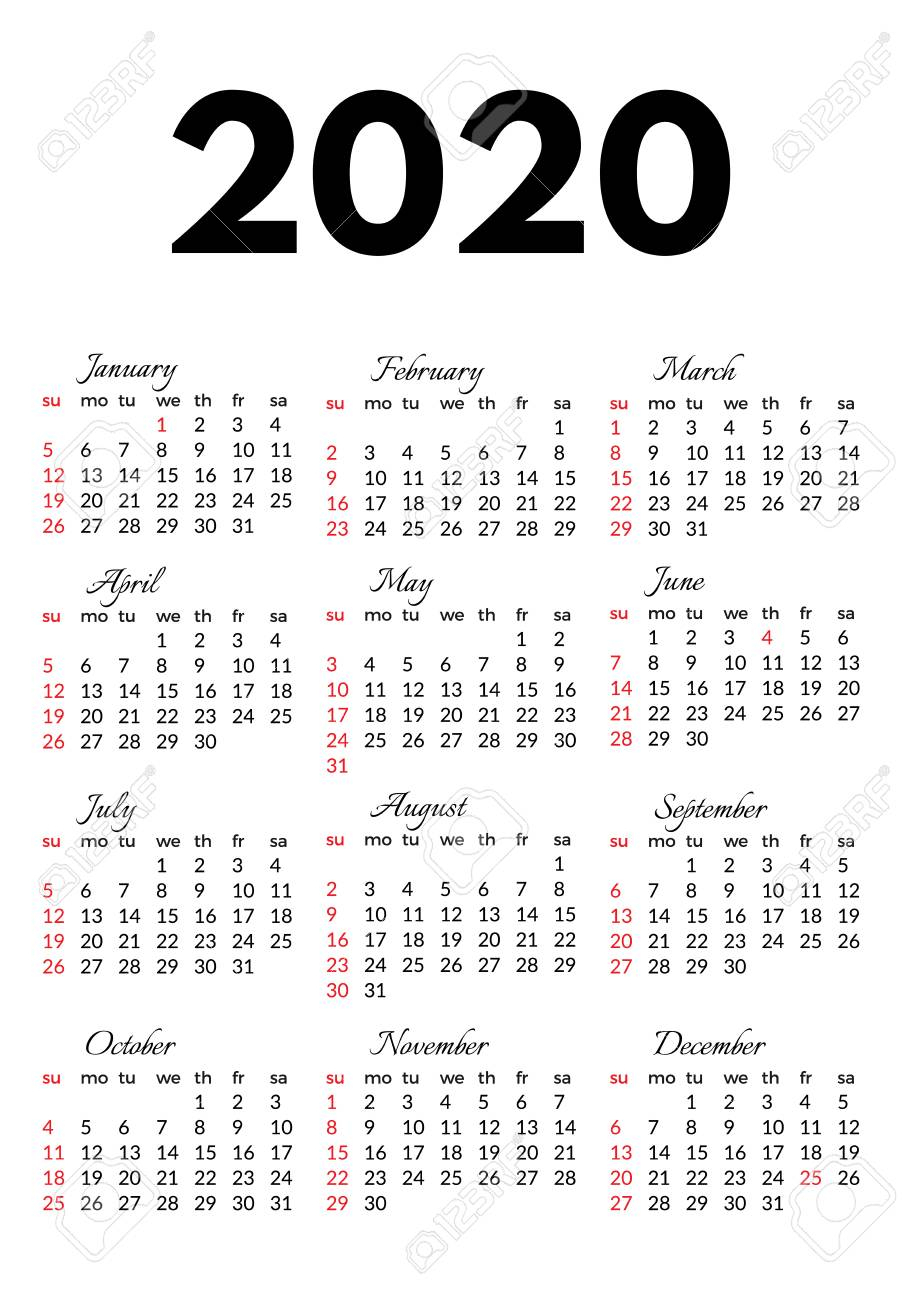 Calendar For 2020 Isolated On A White Background. Sunday To Monday,.. inside 2020 Calendar Monday To Sunday