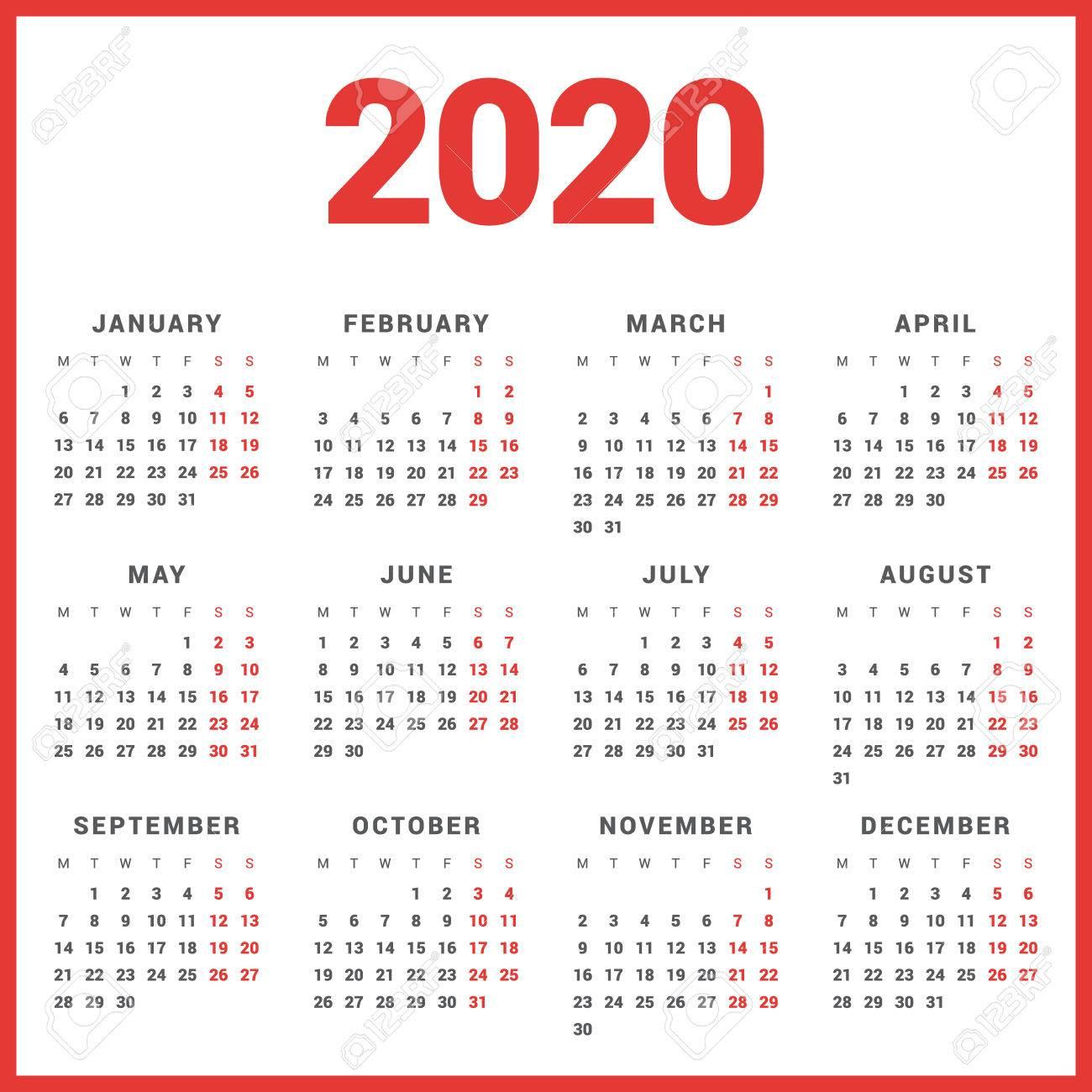 Calendar For 2020 Year On White Background. Week Starts Monday regarding 2020 Calendar Starting On Monday