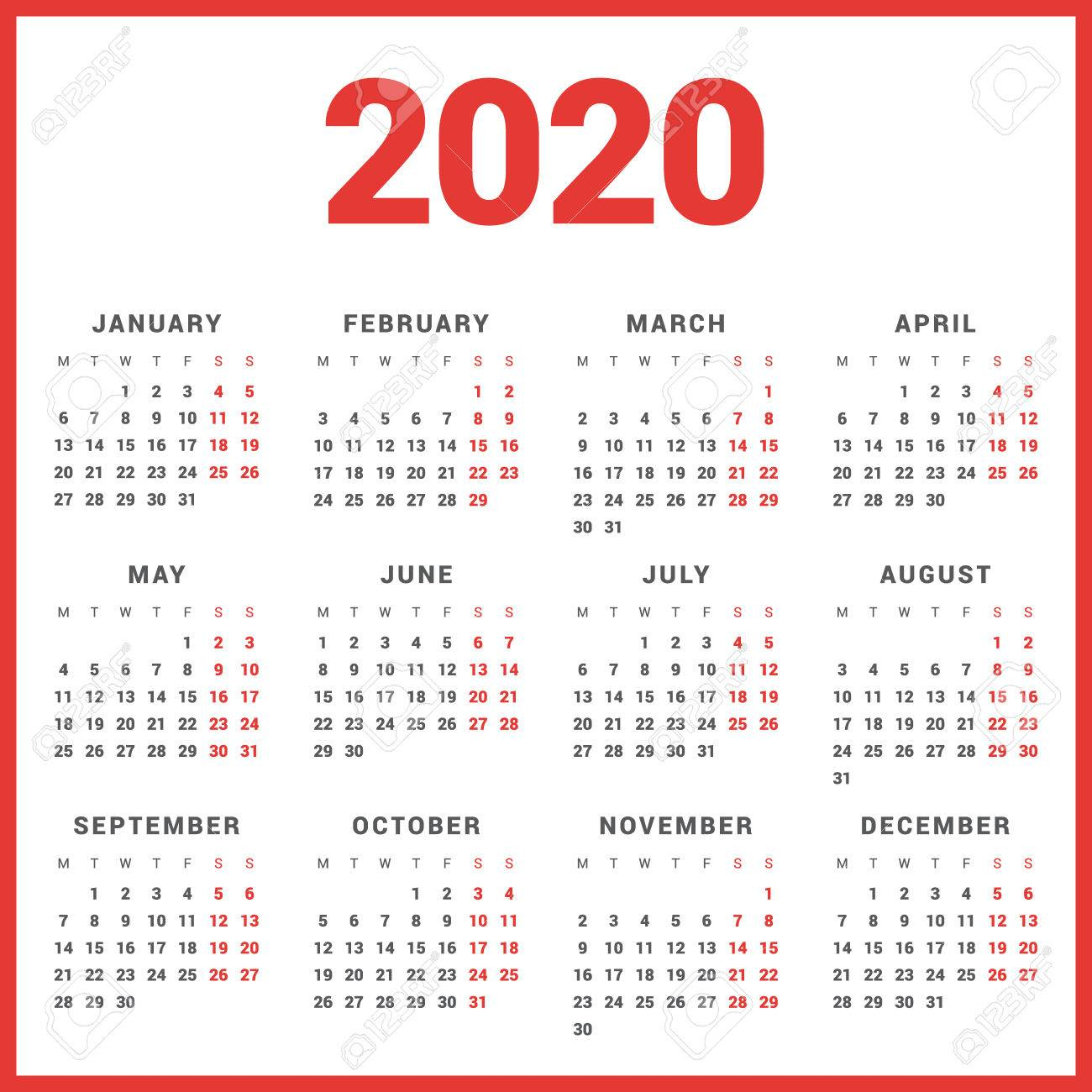 Calendar For 2020 Year On White Background. Week Starts Monday with 2020 Calendar Starting With Monday