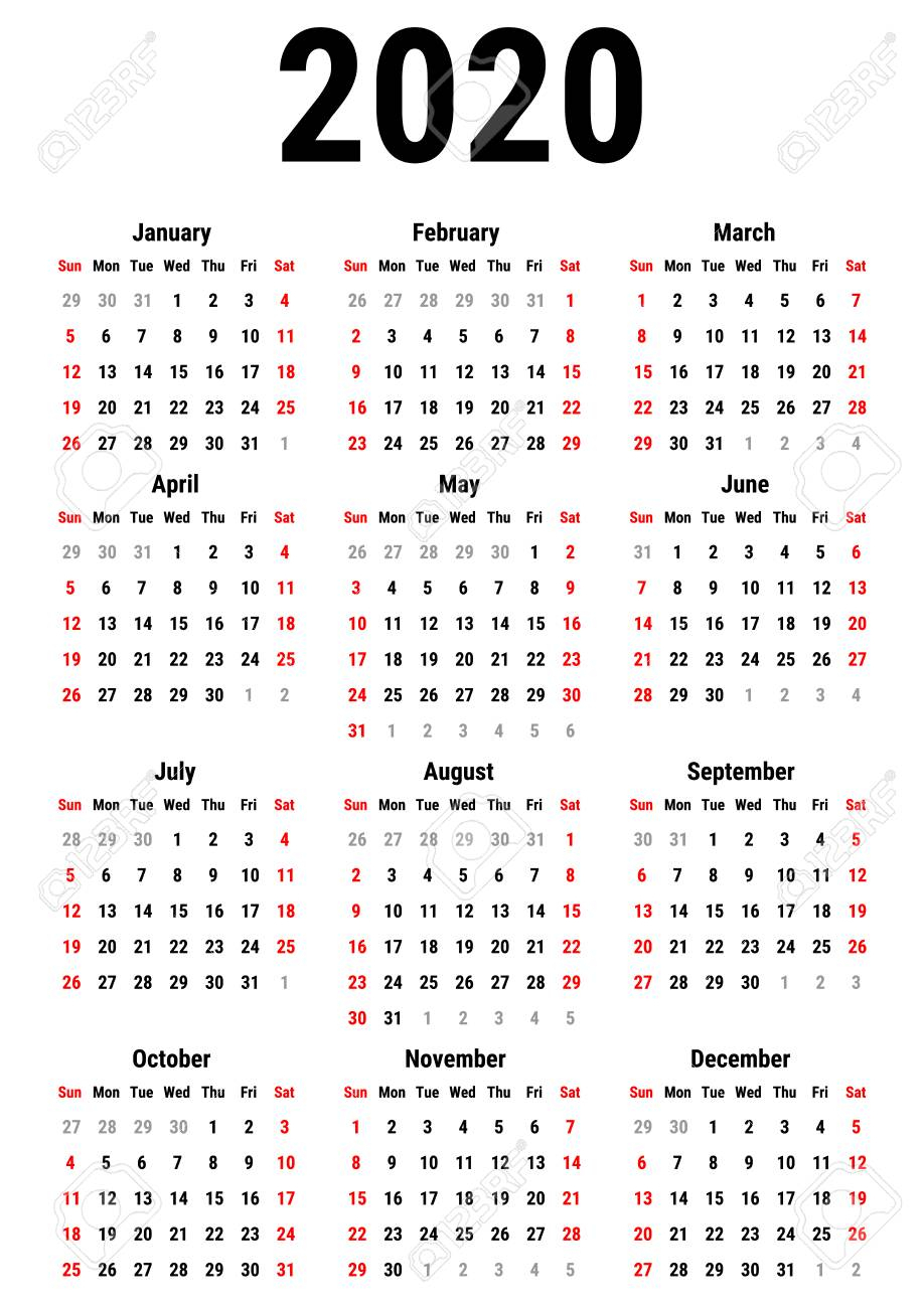 Calendar For 2020 Year On White Background. Week Starts Sunday in Printable Calendar 2020 Monday To Sunday