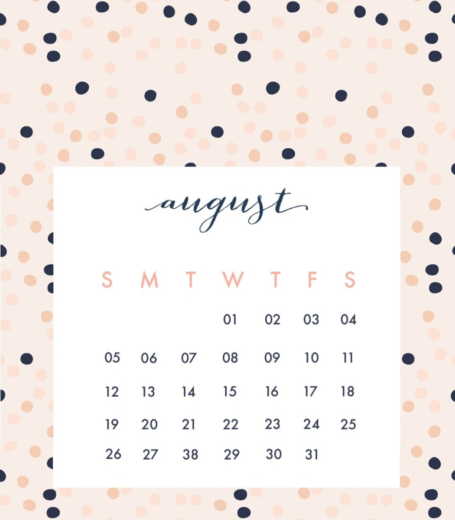 Calendar For August 2018 with Cute Calendar Template August