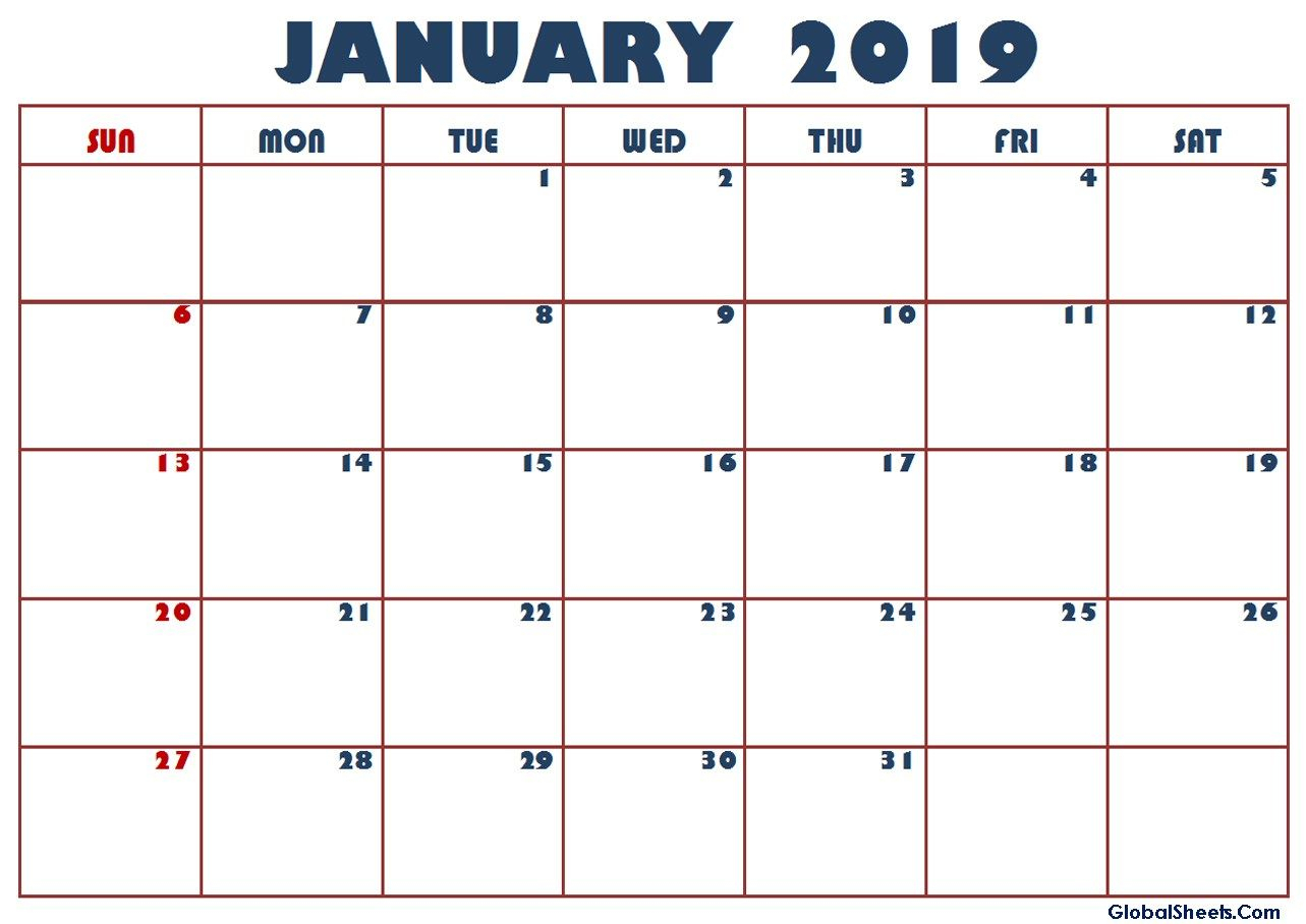 Calendar For January 2019 Philippines | January 2019 Calendar pertaining to Printable Template For Philippine Calendar