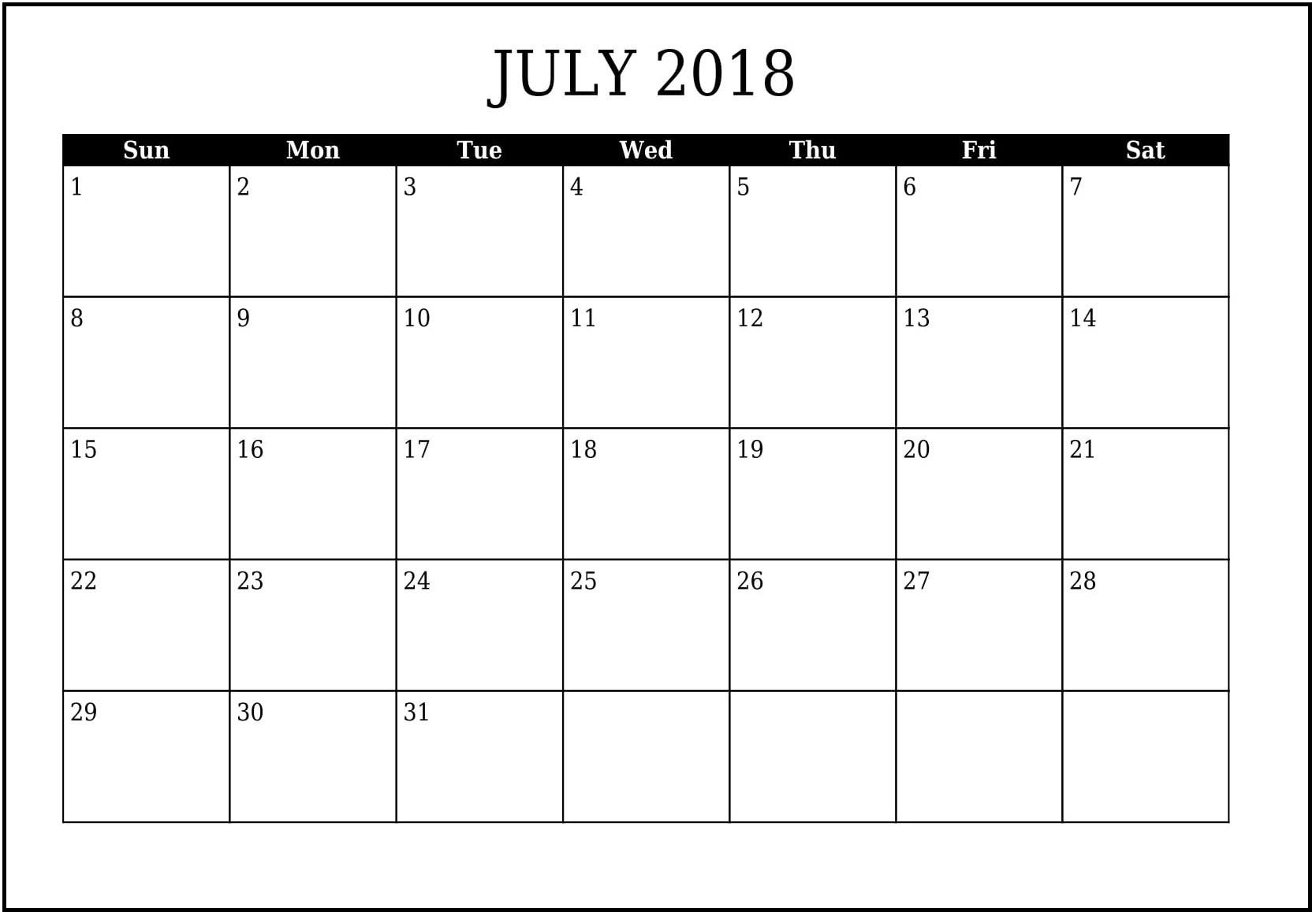 Calendar For July 2018 Printable | Business Calendar Templates within Cute Calendar Templates July