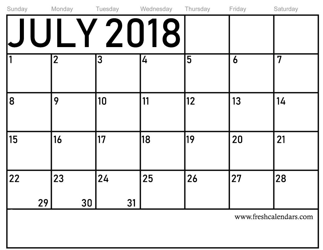 Calendar For July 2018 with regard to Blank July Calendar Printable