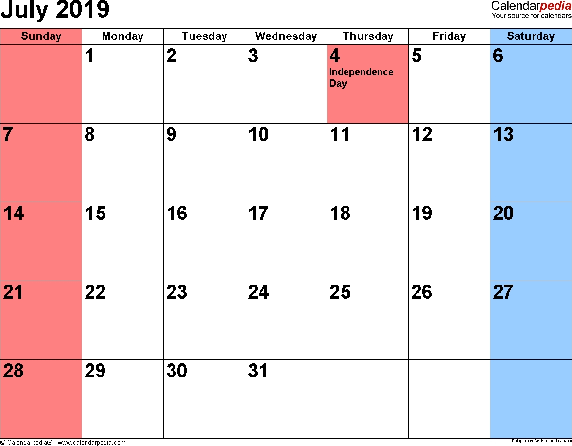 Calendar For July 2019 Philippines - Printable Calendar 2019| Blank with Philippine Blank July Calendar Printable