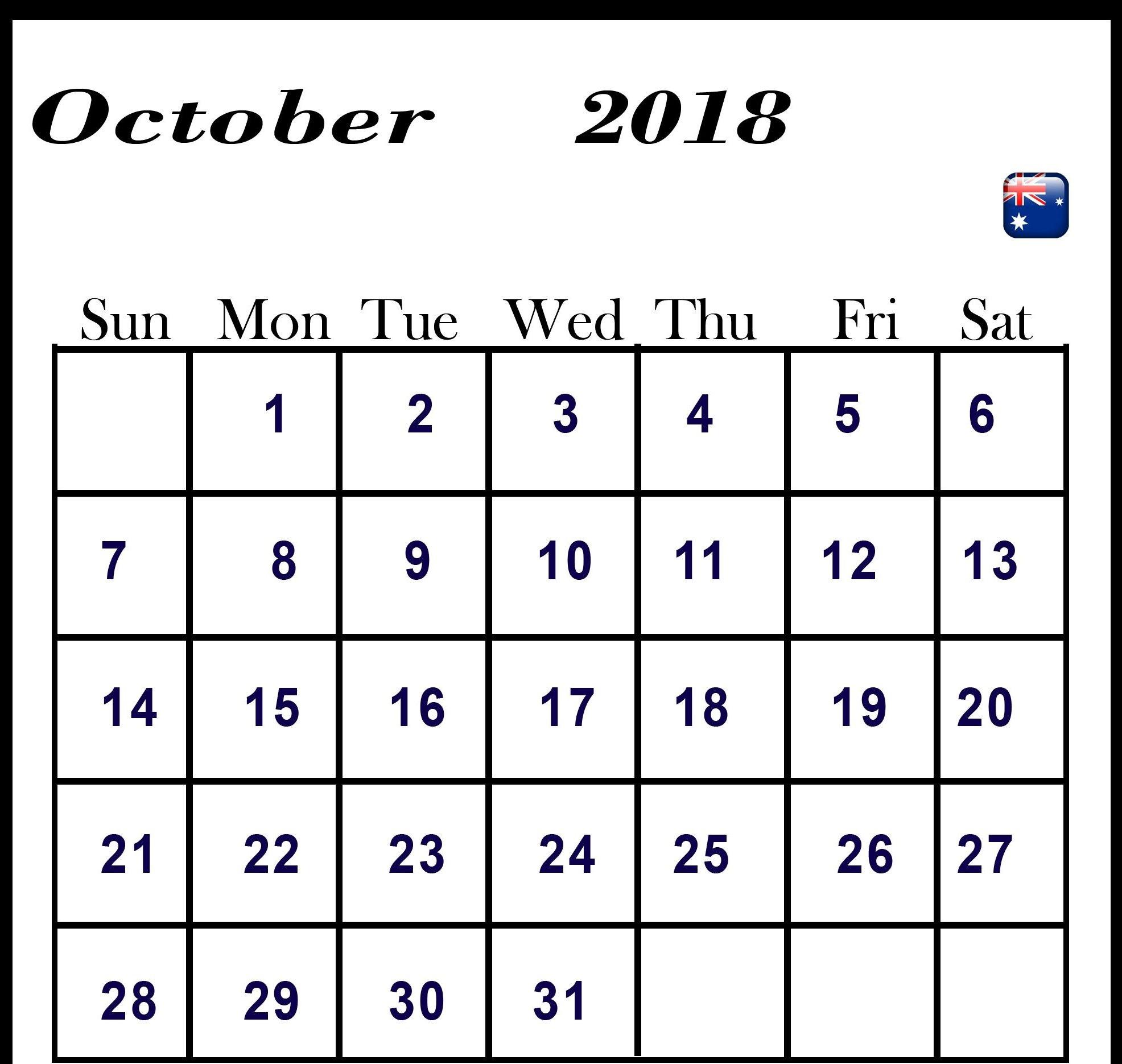 Calendar For October 2018 Australia - Free August 2019 Calendar within Calendar October 2019 Australia Images