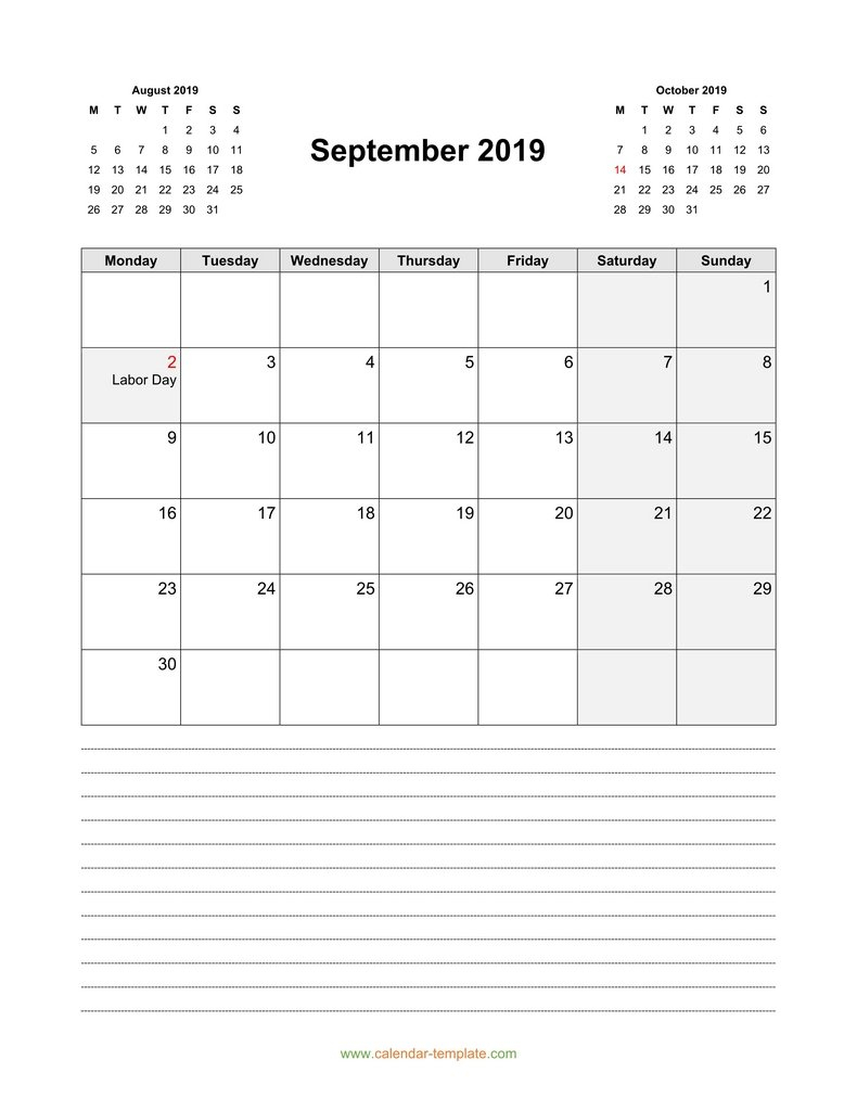 Calendar For September 2019 With Previous, Next Month intended for Monday Sunday Calendar Template September