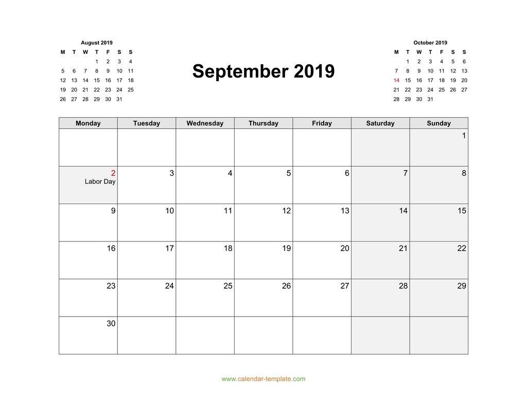 Calendar For September 2019 With Previous, Next Month with regard to Monday Sunday Calendar Template September