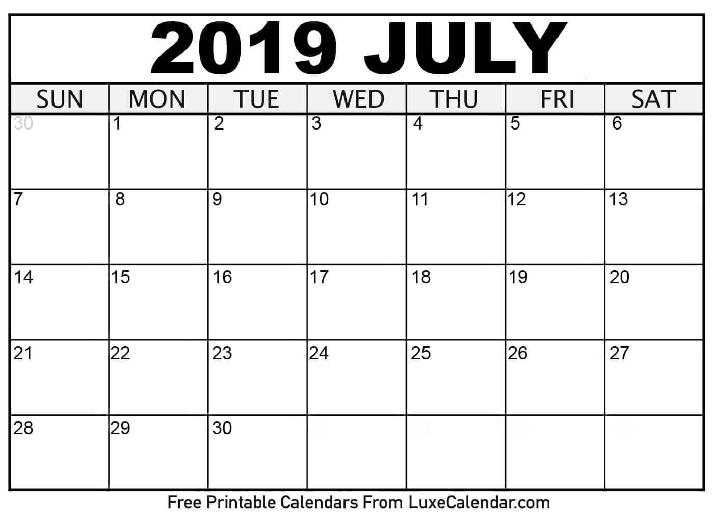 Calendar Free Printable 2019 Blank July 2019 Printable Calendar Luxe regarding Free 8/2019 -5/ 2020 Printable Calendar