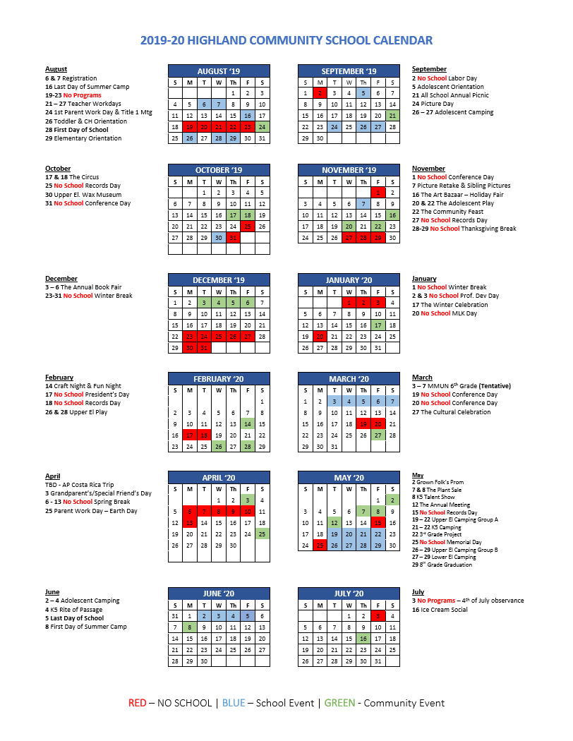 Calendar | Highland Community School in Six Nations School Caldendar 2019-2020