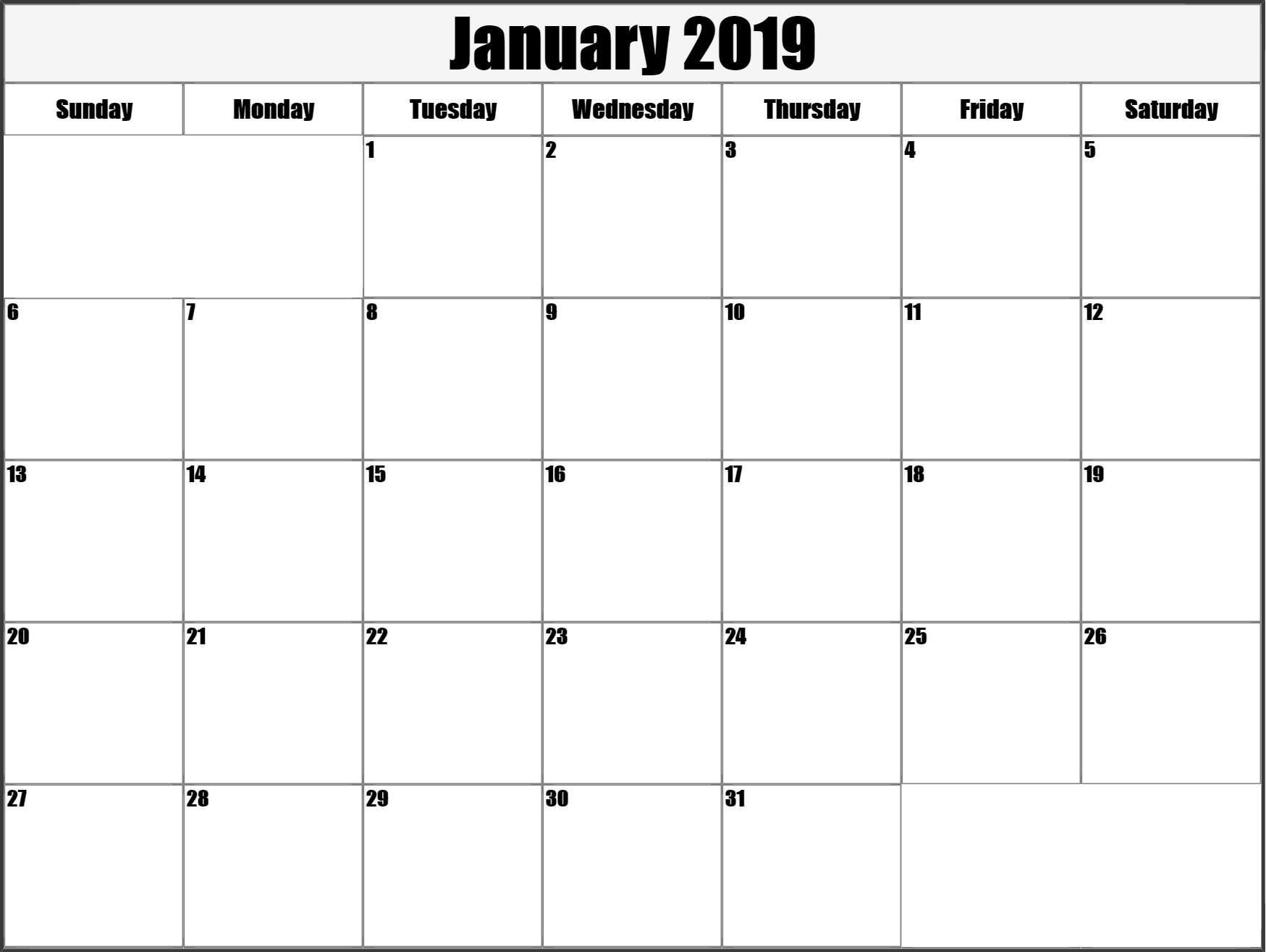 Calendar January 2019 Printable Large   Calendar January 2019 in Large Blank Monthly Calendars January Printable