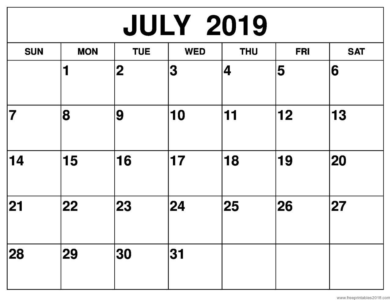 Calendar July 2019 - Free Printable Templates | Free Printables 2019 inside July Calendar Printable Template