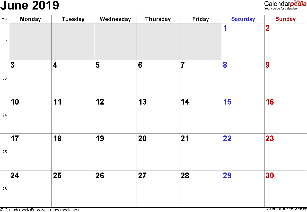 Calendar June 2019 Uk, Bank Holidays, Excel/pdf/word Templates intended for Calendar Blank Printable Monday Start A4
