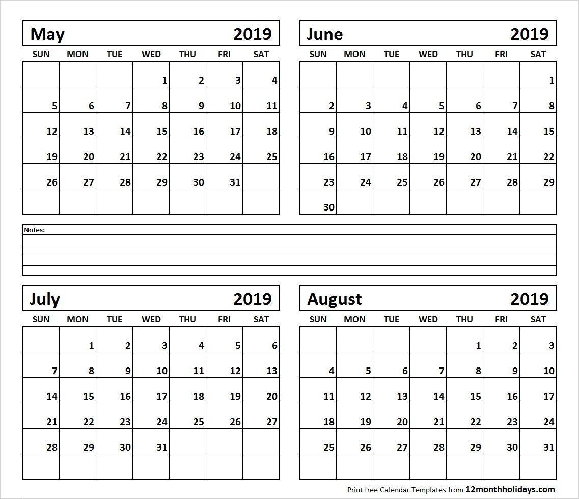 Calendar June-August 2019 | Template Calendar Printable Monthly intended for Blank Calendar June July August