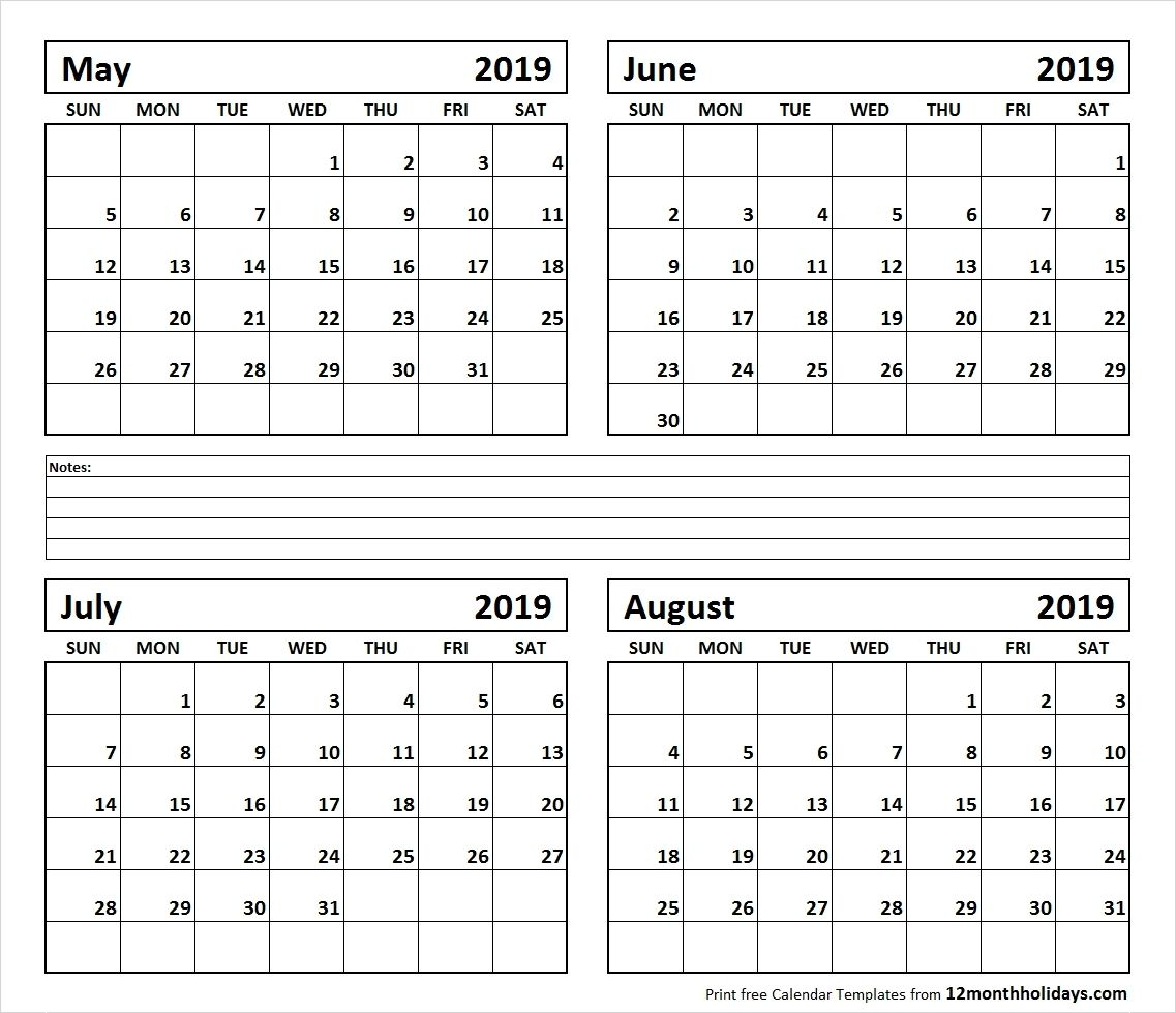 Calendar June-August 2019 | Template Calendar Printable Monthly with regard to Blank June July August Calendar