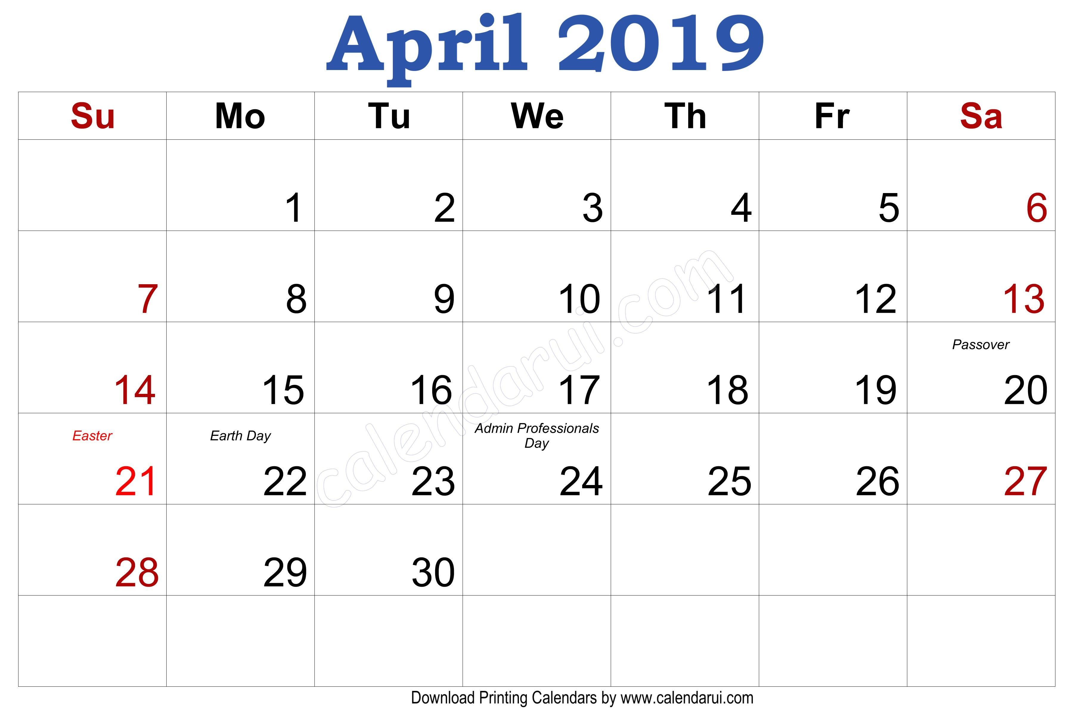 Calendar Month Of April 2019 | Monthly Calendar 2019 In 2019 throughout Blank 30 Day Month Calendar