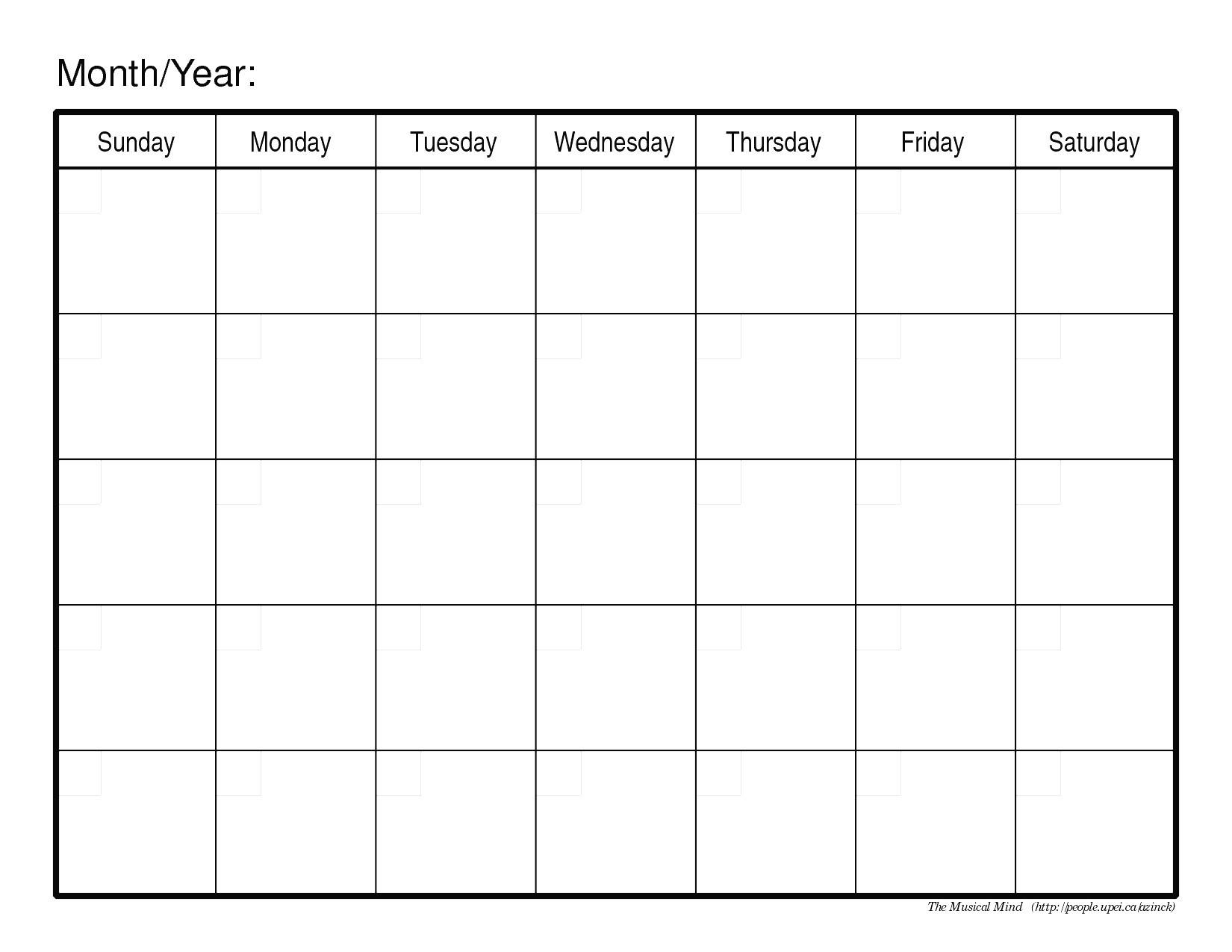 Calendar Month Template 1 With Calendar Month Template - Free regarding Template For Calendar By Month