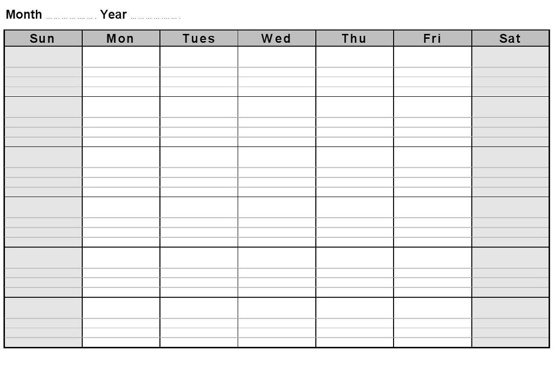 Calendar Month With Notes • Printable Blank Calendar Template in Printable Blank Monthly Calendar With Lines