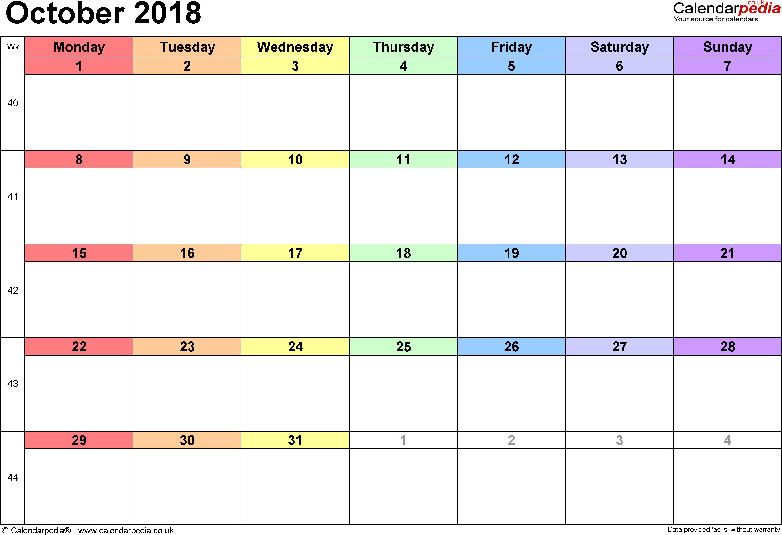 Calendar October 2018 Uk, Bank Holidays, Excel/pdf/word Templates with regard to Monday Sunday Calendar Template September