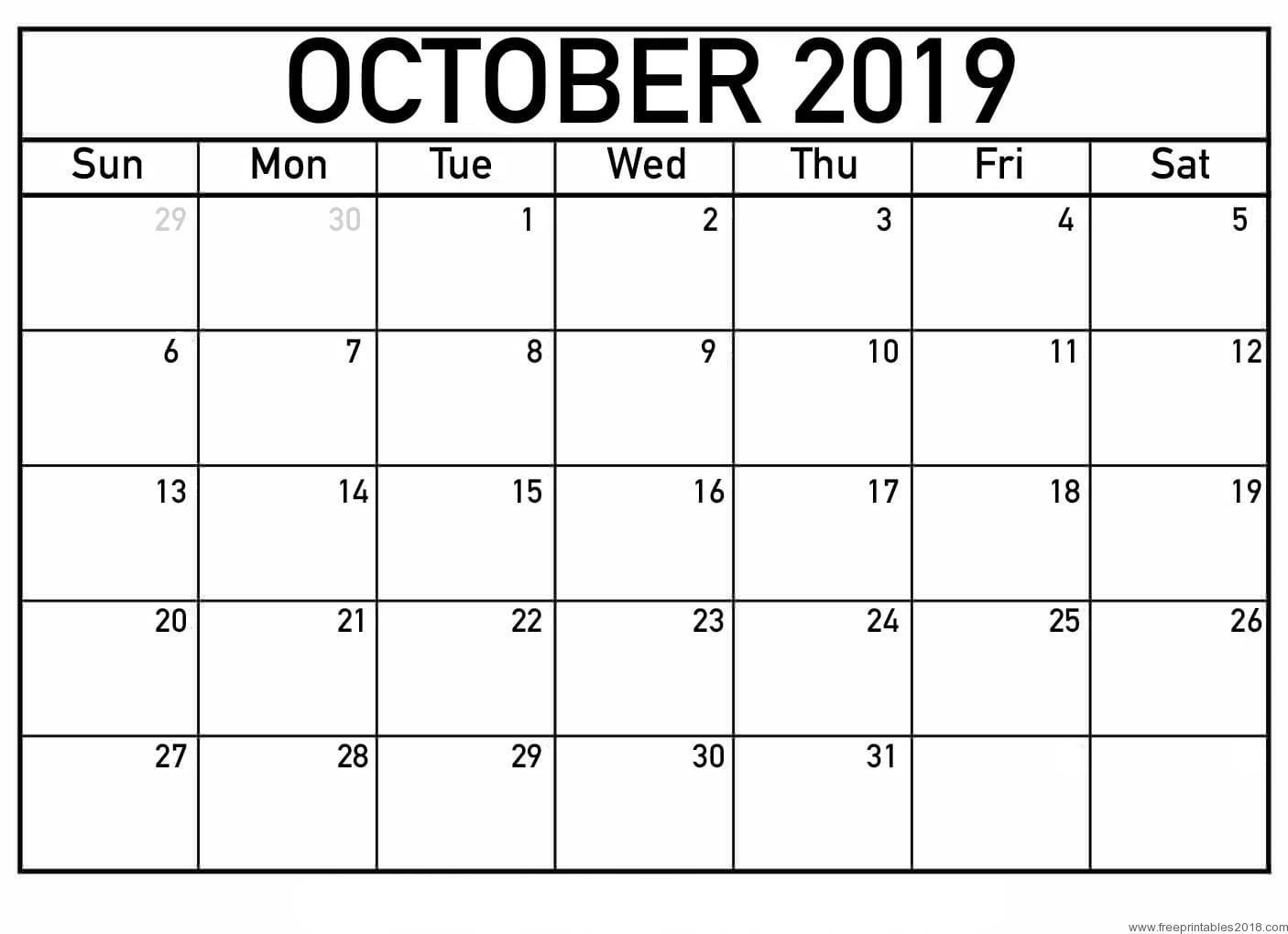 Calendar October 2019 - Free Printable Templates | Free Printables 2019 throughout Calendar 2019 October To December