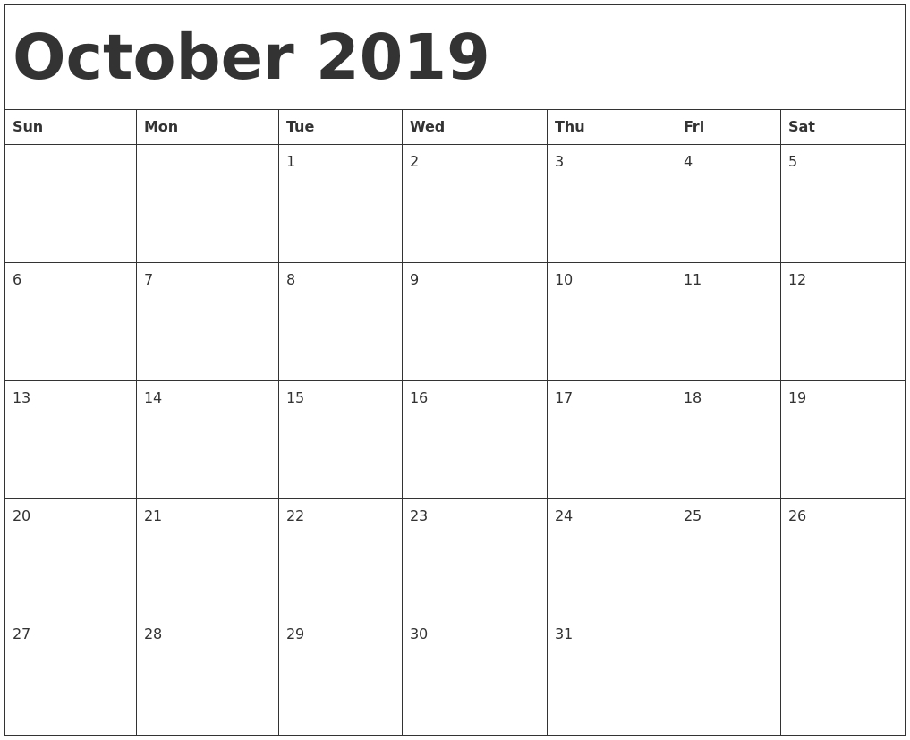 Calendar October 2019 Template - Infer.ifreezer.co with regard to October Calendar Printable Template