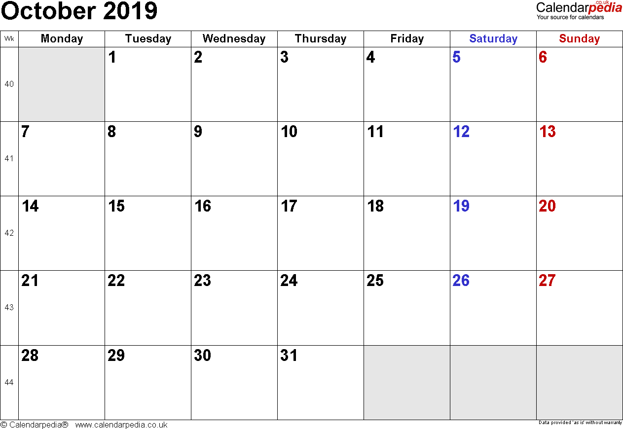 Calendar October 2019 Uk, Bank Holidays, Excel/pdf/word Templates inside October Blank Calendar Monday To Friday Only