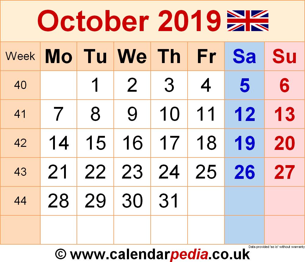 Calendar October 2019 Uk, Bank Holidays, Excel/pdf/word Templates intended for Calendar October 2019 Pocket Calendar