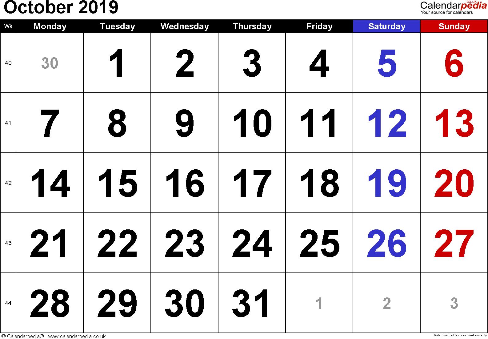 Calendar October 2019 Uk, Bank Holidays, Excel/pdf/word Templates throughout Calendar October 2019 Pocket Calendar