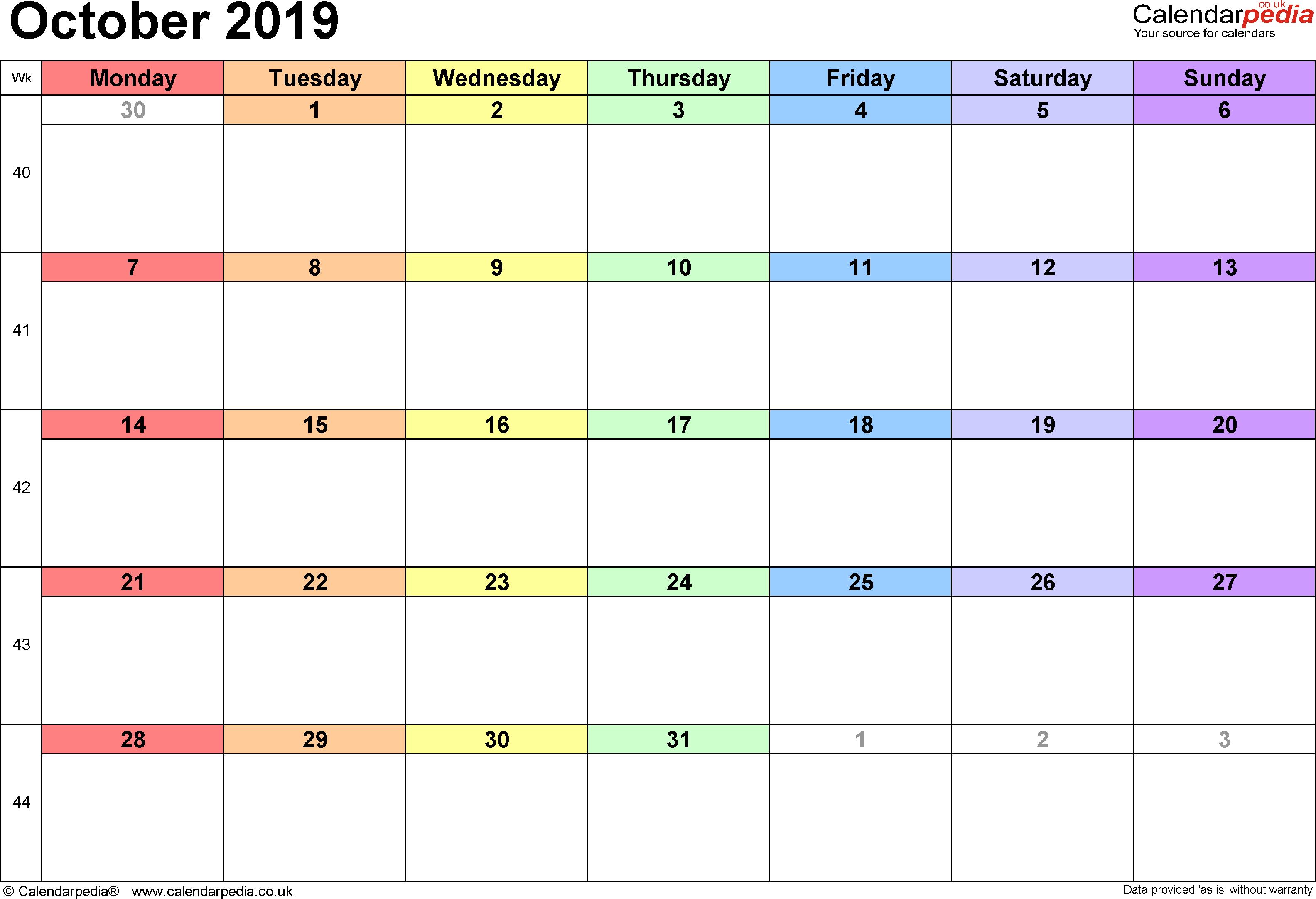 Calendar October 2019 Uk, Bank Holidays, Excel/pdf/word Templates within Calendar October 2019 Pocket Calendar