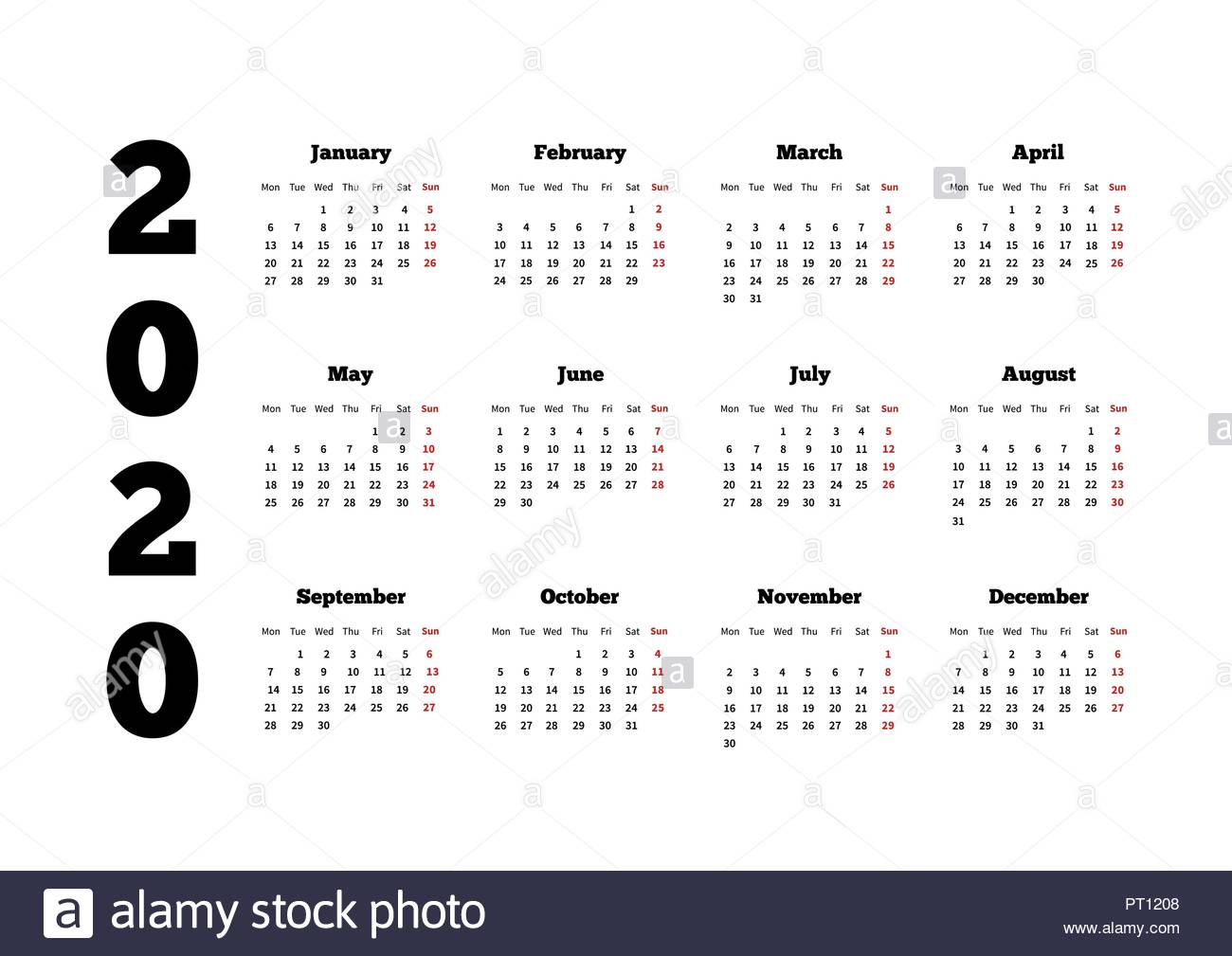Calendar On 2020 Year With Week Starting From Monday, A4 Sheet Stock regarding 2020 Calendar Starting On Monday