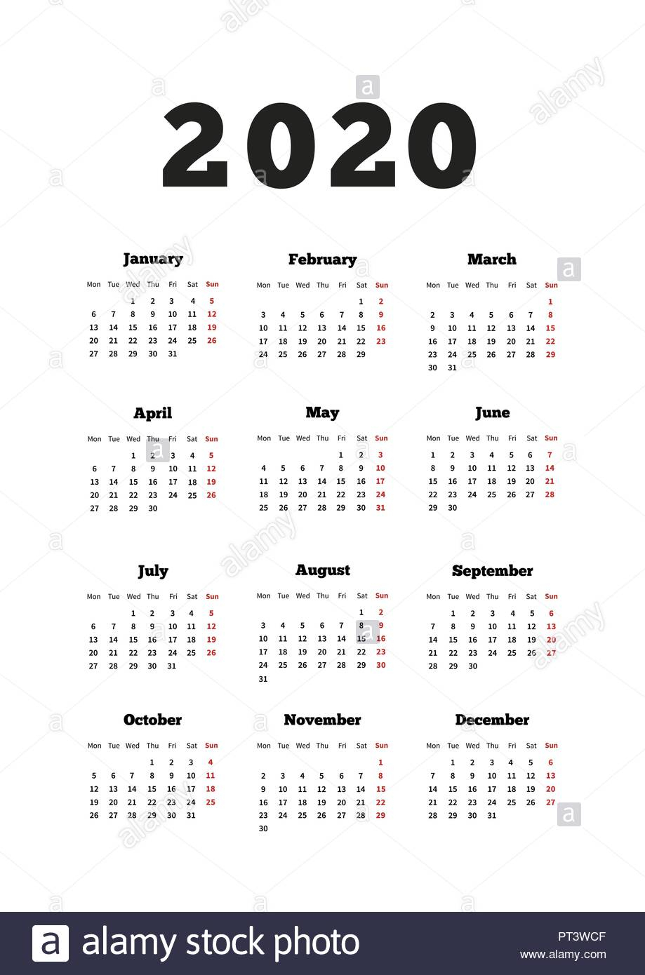 Calendar On 2020 Year With Week Starting From Monday, A4 Size throughout 2020 Calendar Starting With Monday