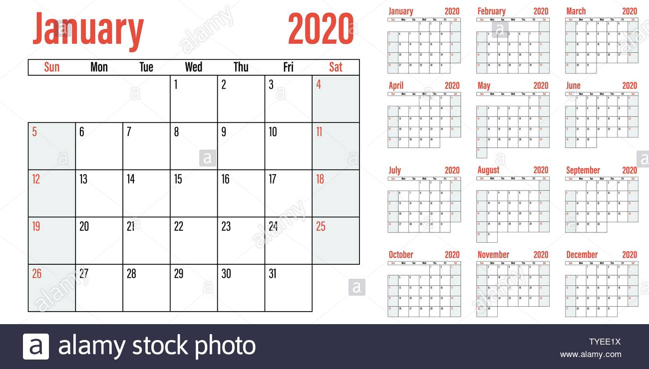 Calendar Planner 2020 Template Vector Illustration All 12 Months with regard to 2020 Calendar Sunday Through Saturday