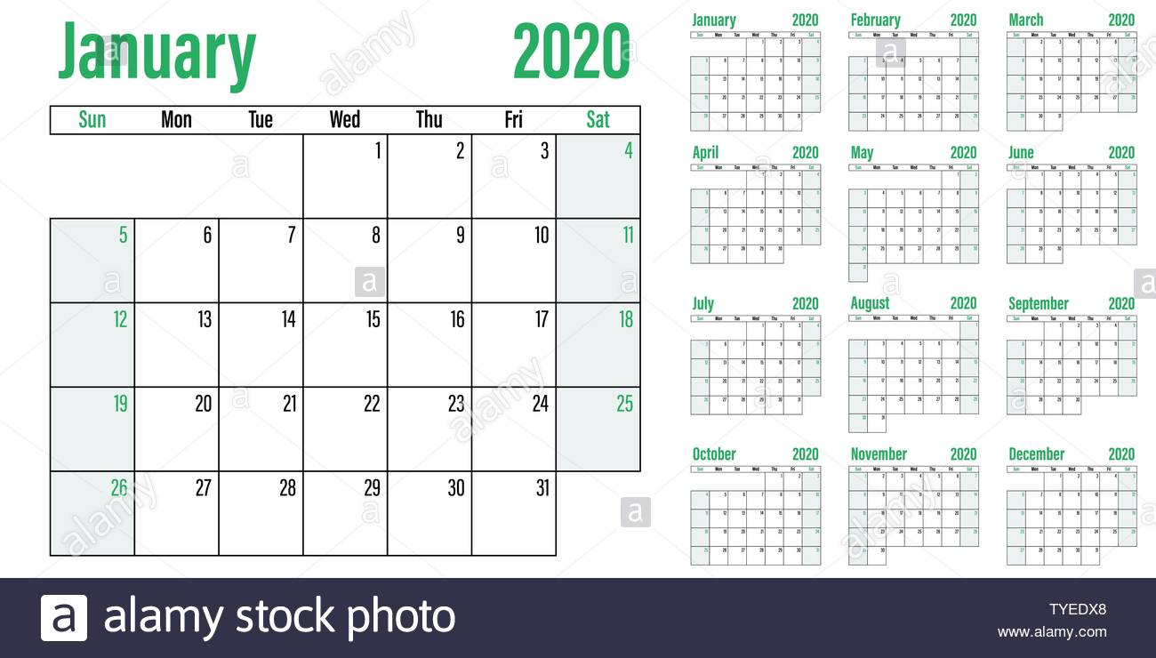 Calendar Planner 2020 Template Vector Illustration All 12 Months with regard to 2020 Calendar Sunday To Saturday