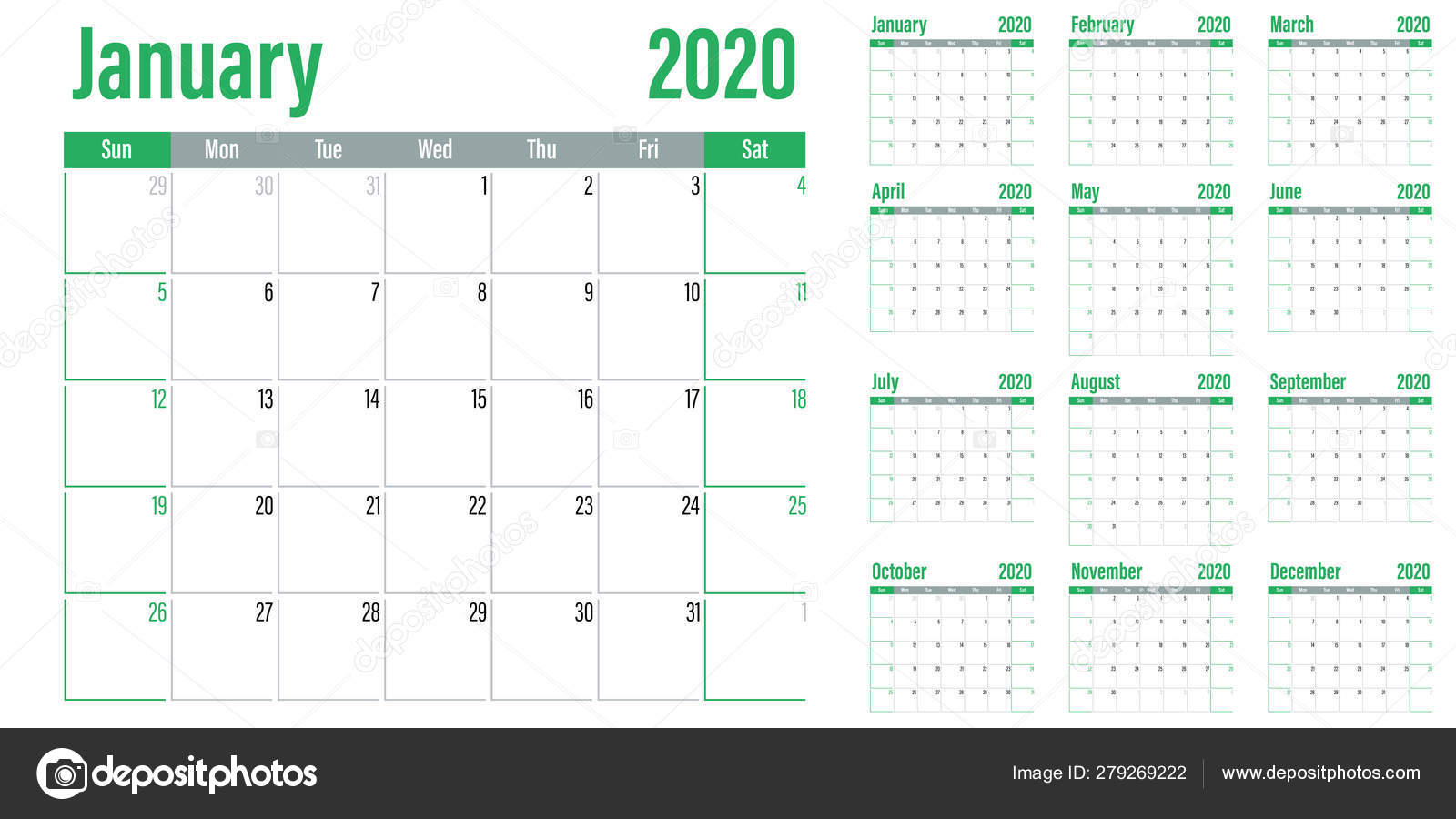 Calendar Planner 2020 Template Vector Illustration All Months Week with 2020 Calendar Sunday Through Saturday