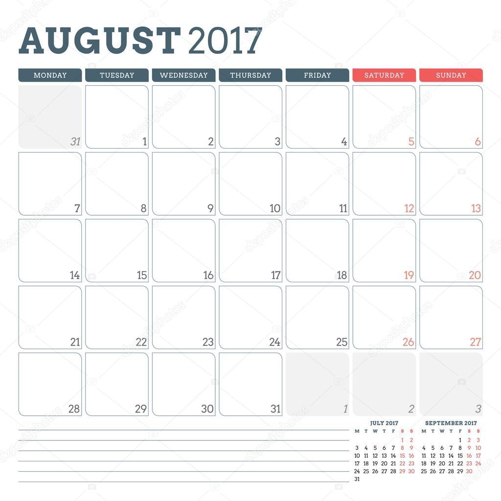 Calendar Planner Template For August 2017. Week Starts Monday. 3 regarding August Calendar Template With Notes